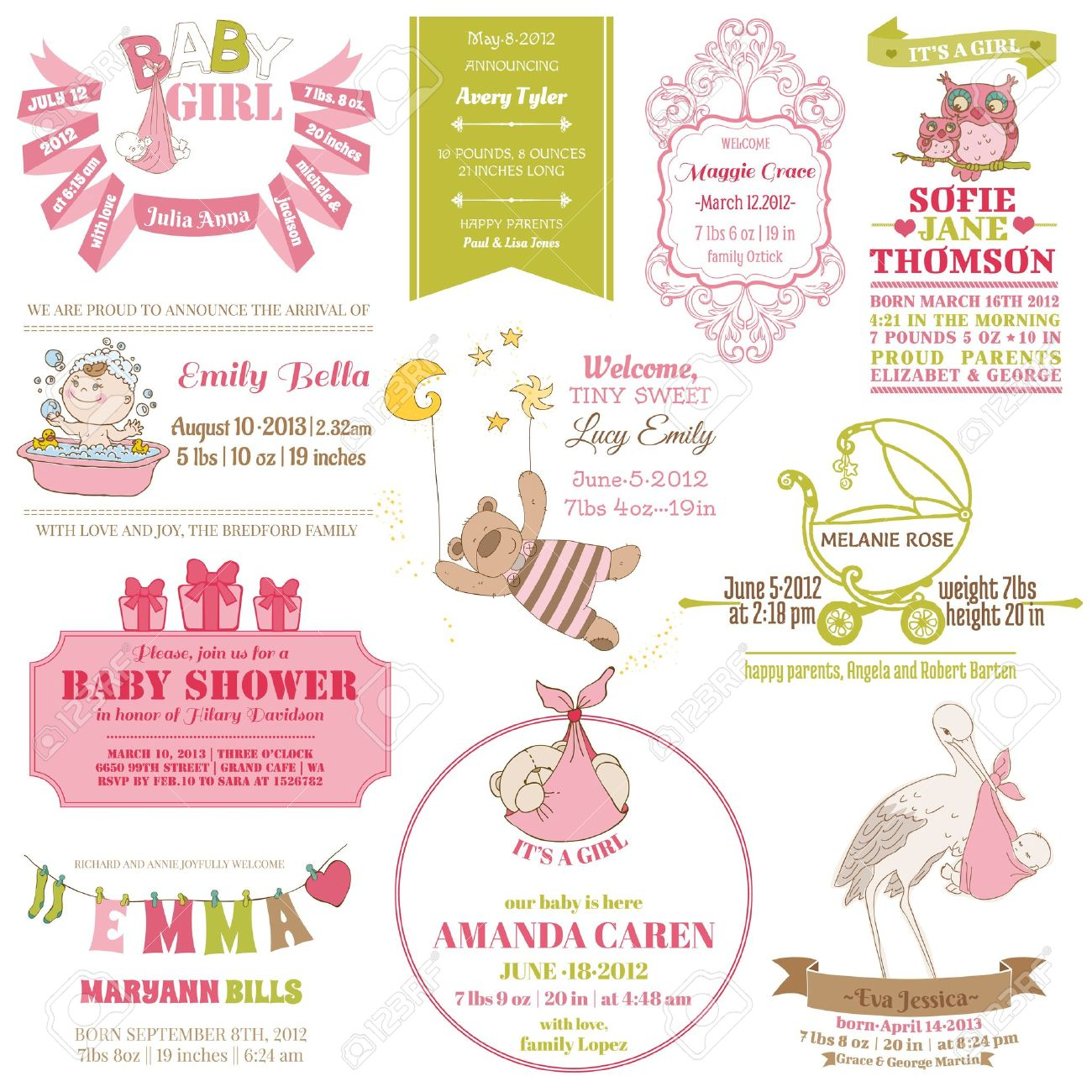 Baby Arrival and Shower Collection - for card design, scrapbook - in vector Stock Vector - 15571526