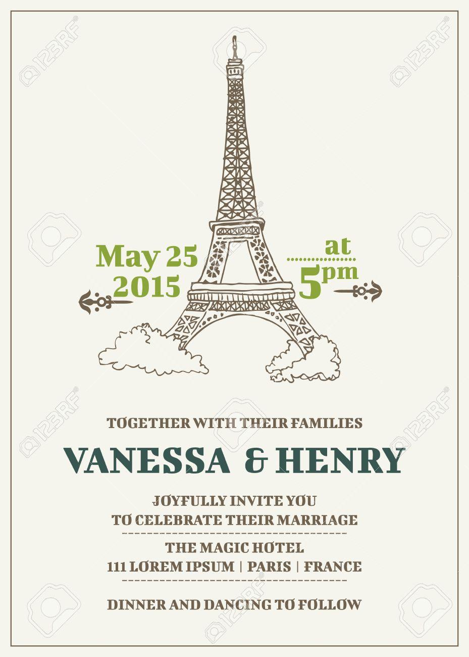wedding invitation card paris theme royalty free cliparts vectors