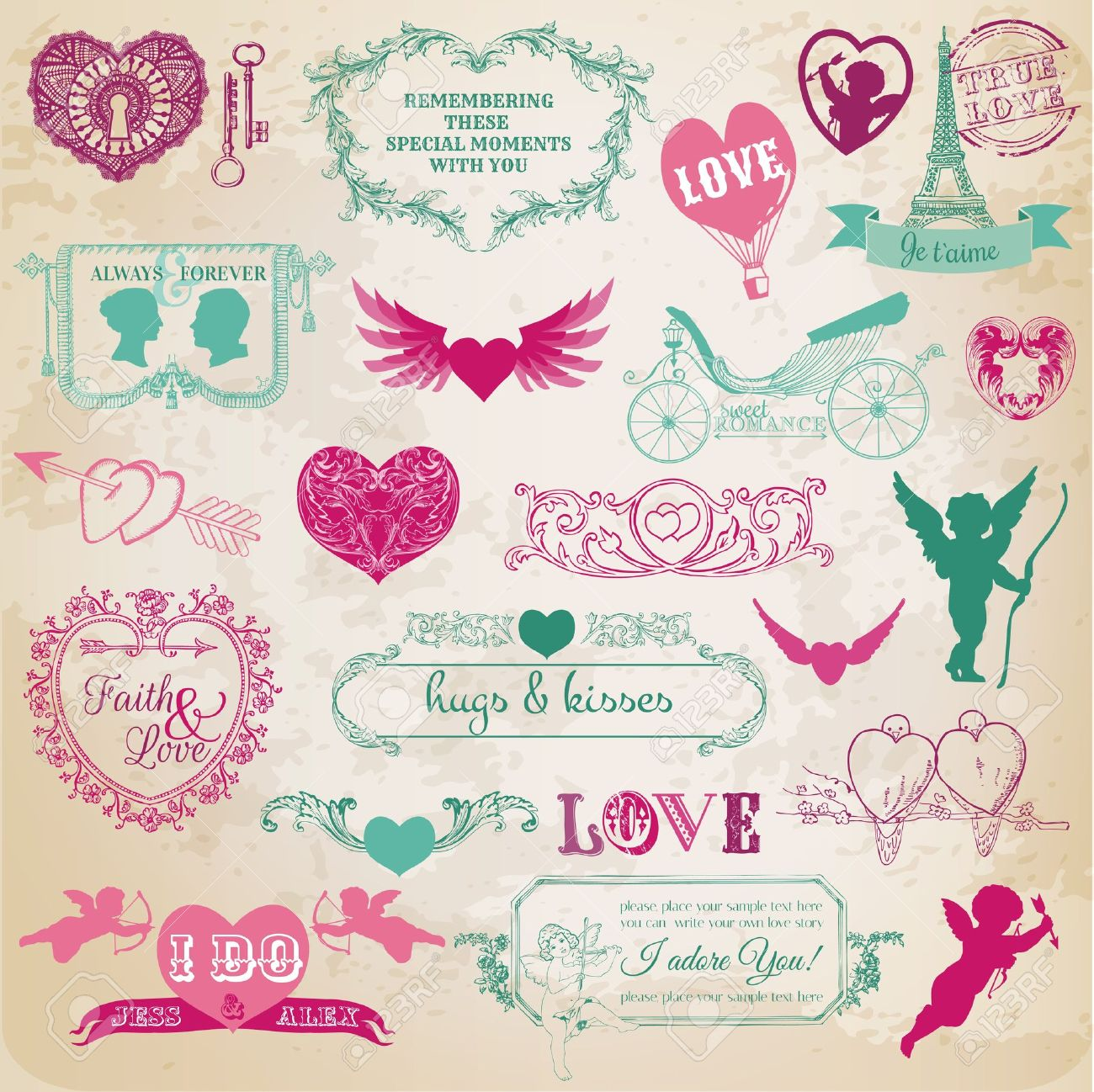 scrapbook, love, valentine, wedding, vintage, scrap, scrapbooking, invitation, calligraphy, heart, cupid, angel, frame, bird, design, element, amour, background, banner, retro,  day, romance,  valentines day, card, corner, couple,  decor, decoration, draw Stock Vector - 45195877