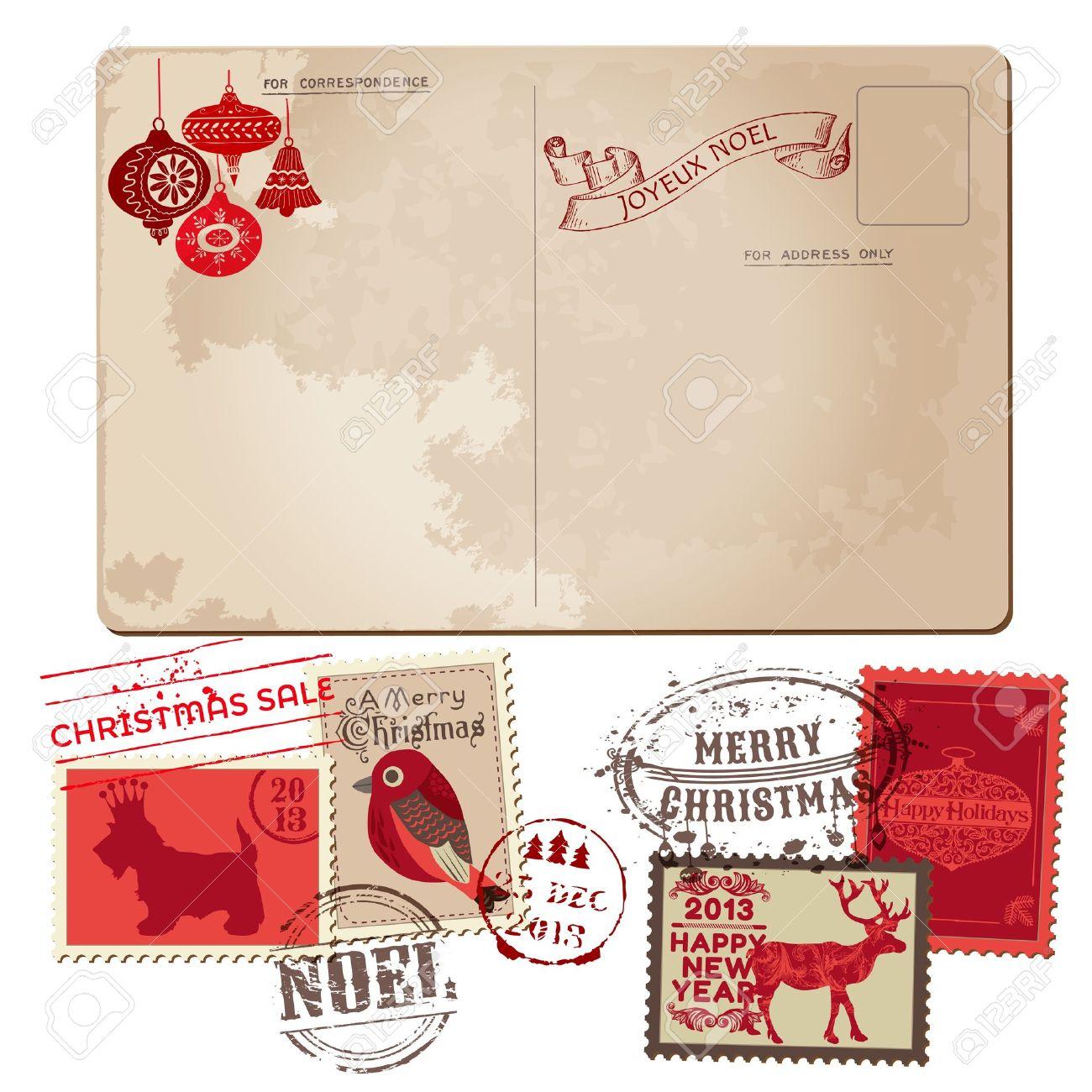 weinlese-weihnachten postkarten und briefmarken - für design, Einladungen