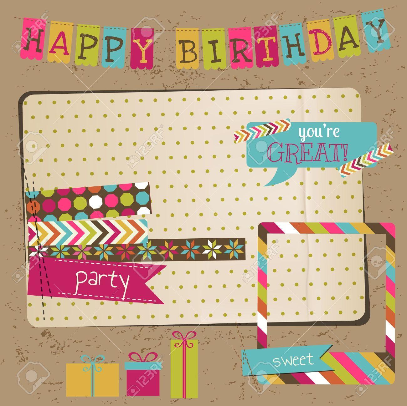 Retro Birthday Celebration Design Elements - for Scrapbook, Invitation in vector Stock Vector - 16401967