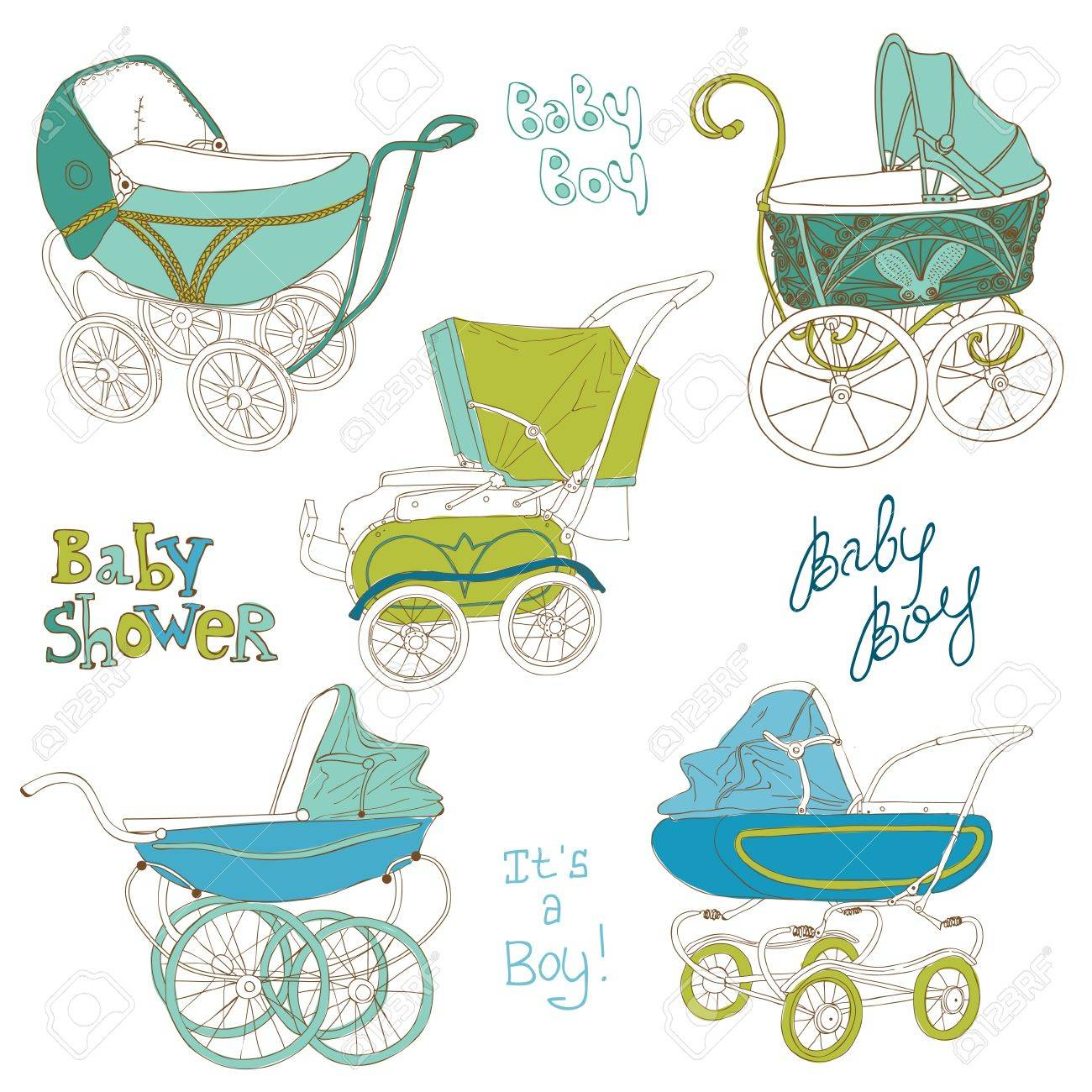Baby Carriage Set - for your design and scrapbook Stock Vector - 16604938