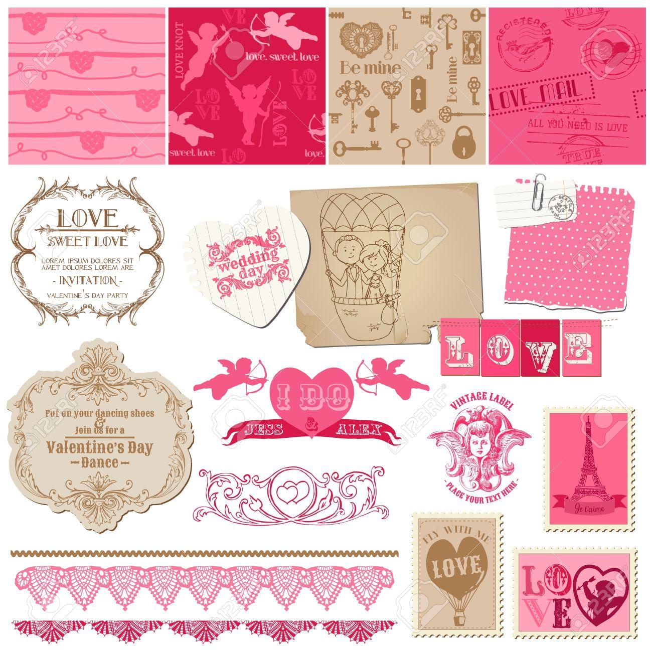 Scrapbook Design Elements Love Set For Cards Invitation