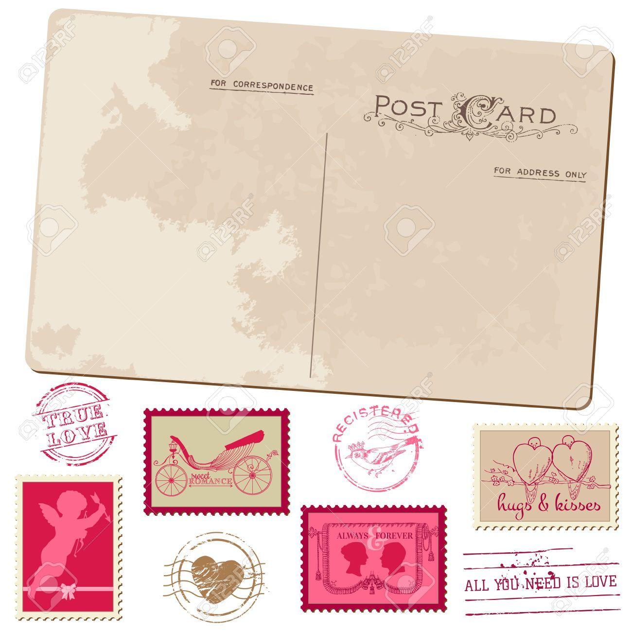 Vintage Postcard and Postage Stamps - for wedding design, invitation, congratulation, scrapbook Stock Vector - 16846515