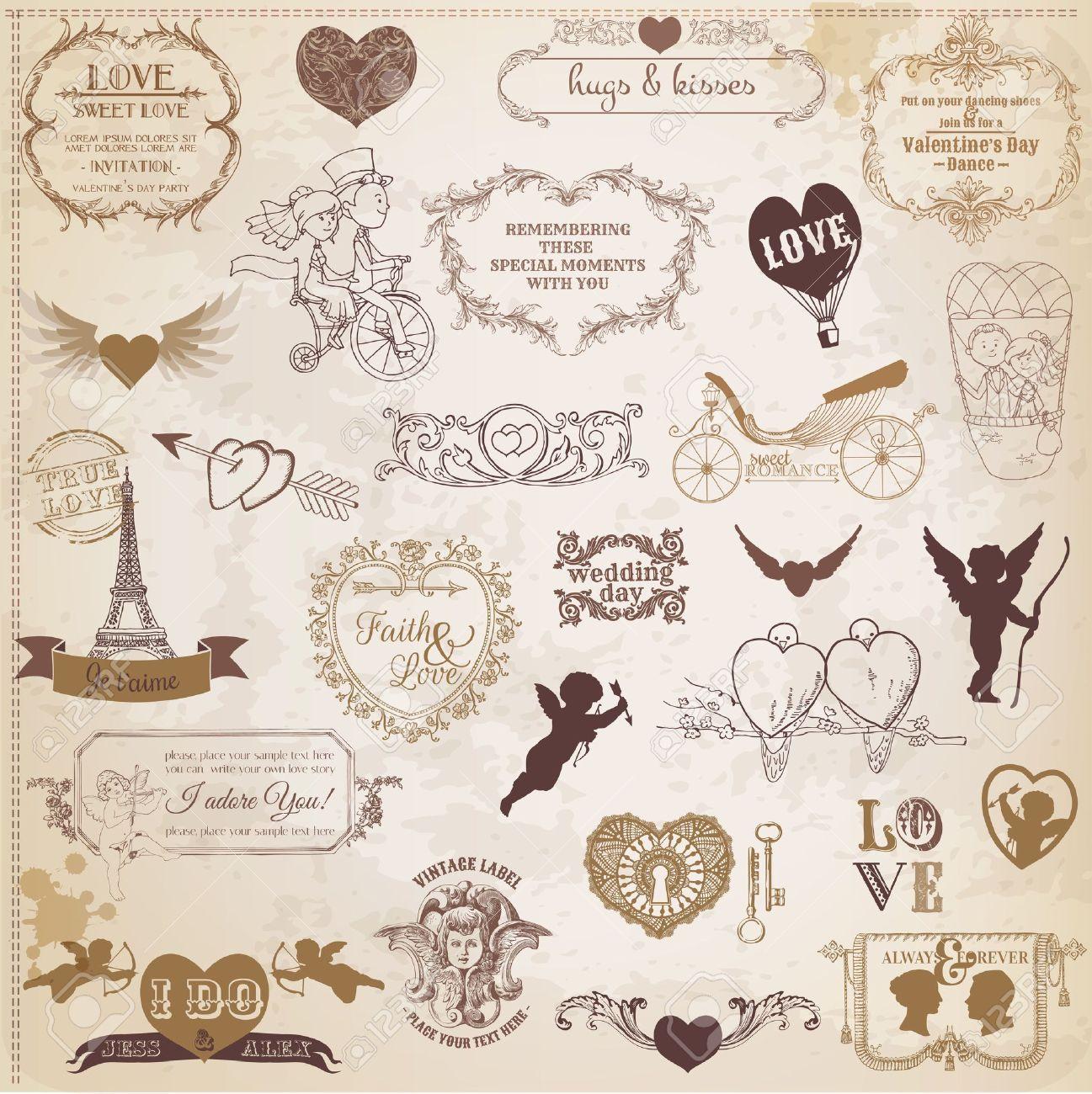How to scrapbook a wedding invitation - Vector Scrapbook Love Valentine Wedding Vintage Scrap Scrapbooking Invitation Calligraphy Heart Cupid Angel Frame Bird Design Element