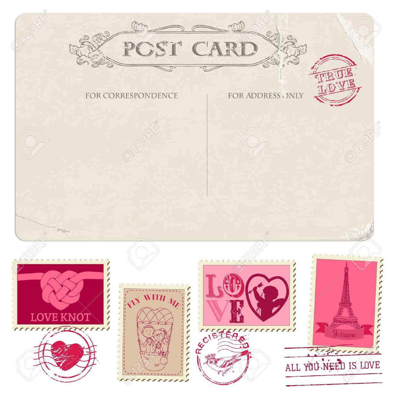 Postkarte Und Briefmarken   Für Hochzeit Design, Einladung, Glückwünsche,  Scrapbook Standard Bild