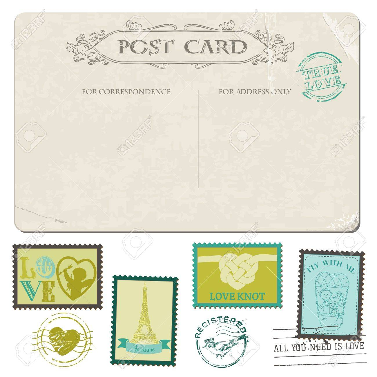 Vintage Postcard And Postage Stamps For Wedding Design
