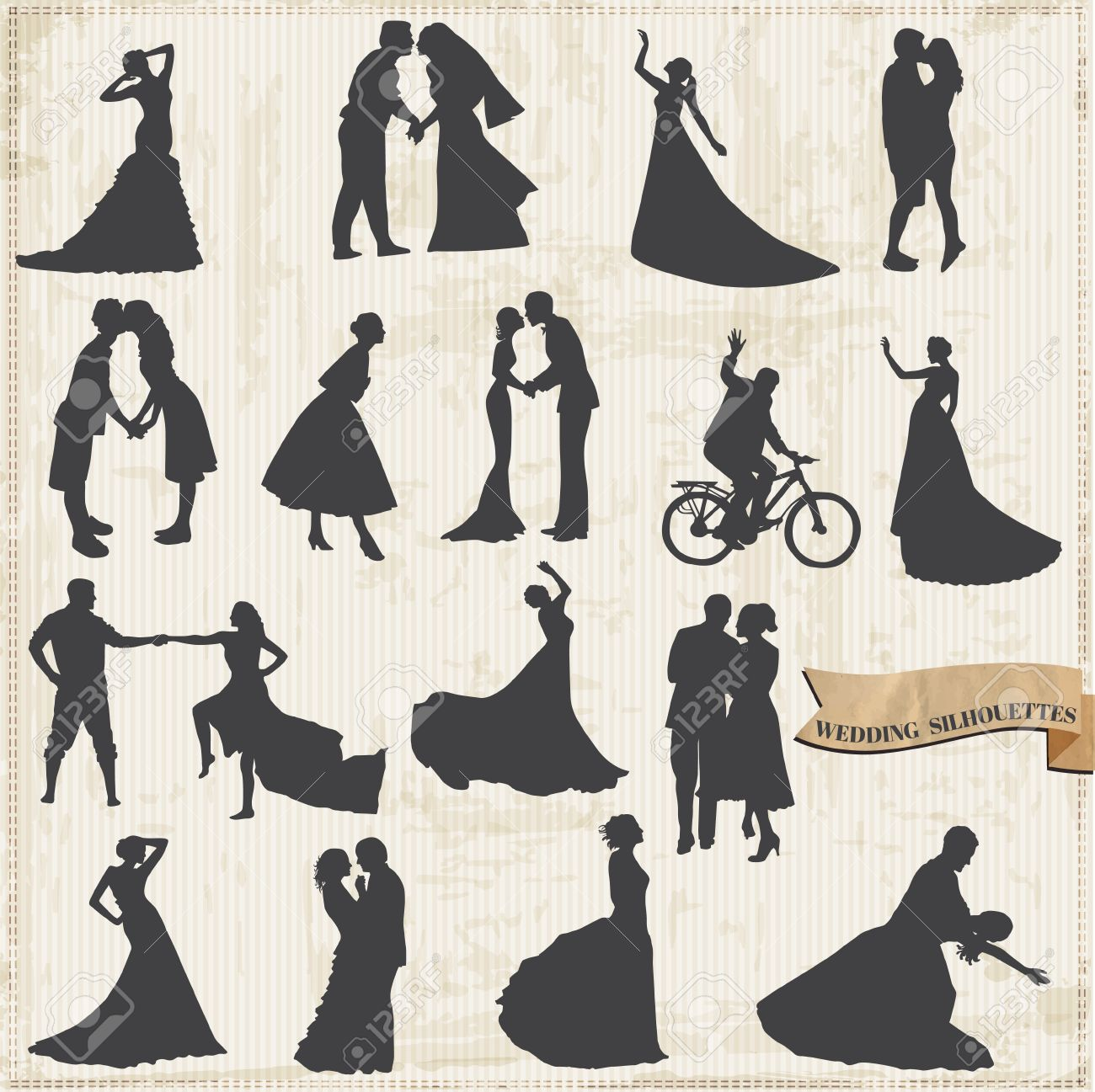 Vintage Wedding Silhouettes - Bride and Groom - for design and scrapbook Stock Vector - 17621353