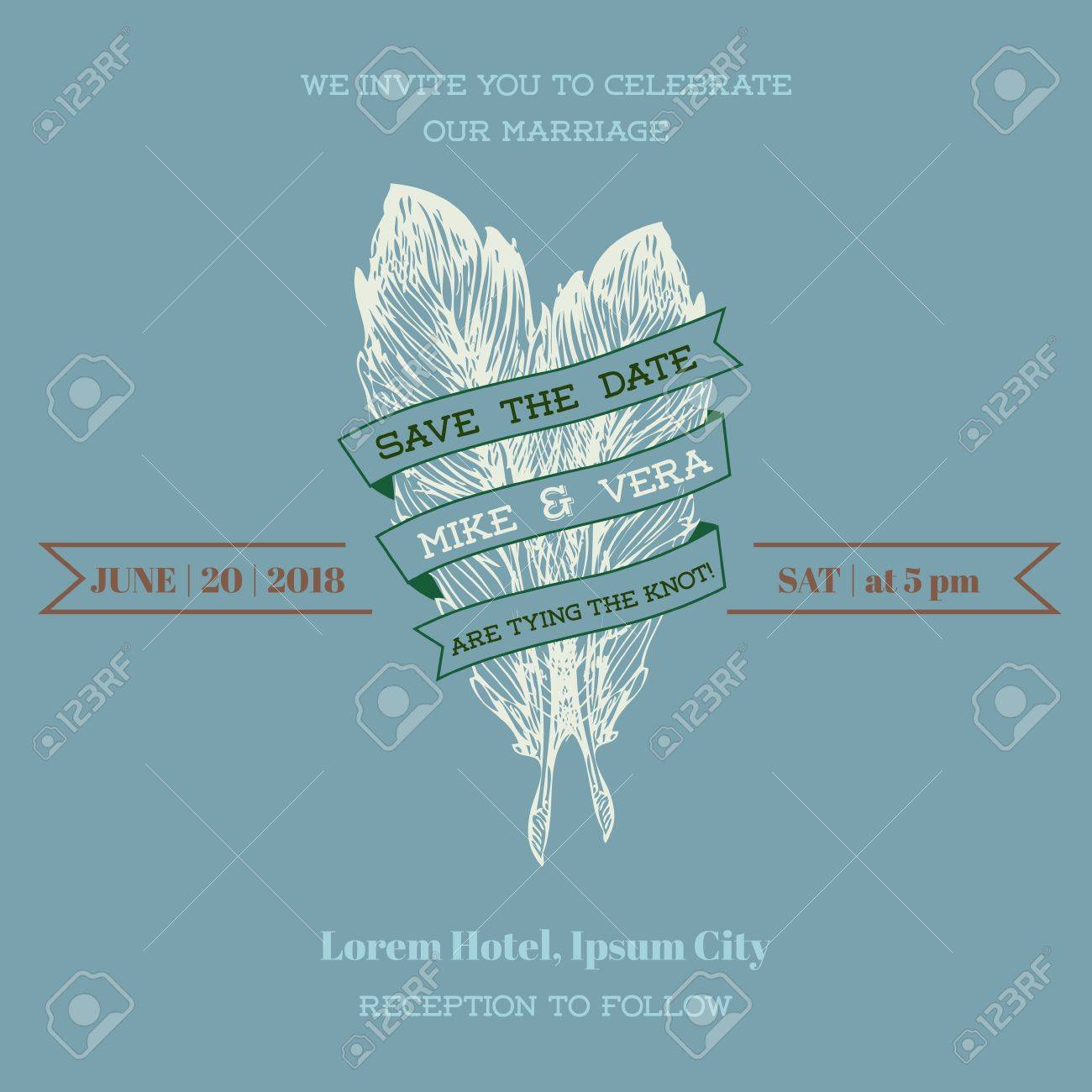 Wedding Vintage Invitation Card - Feather Theme Stock Vector - 17621341