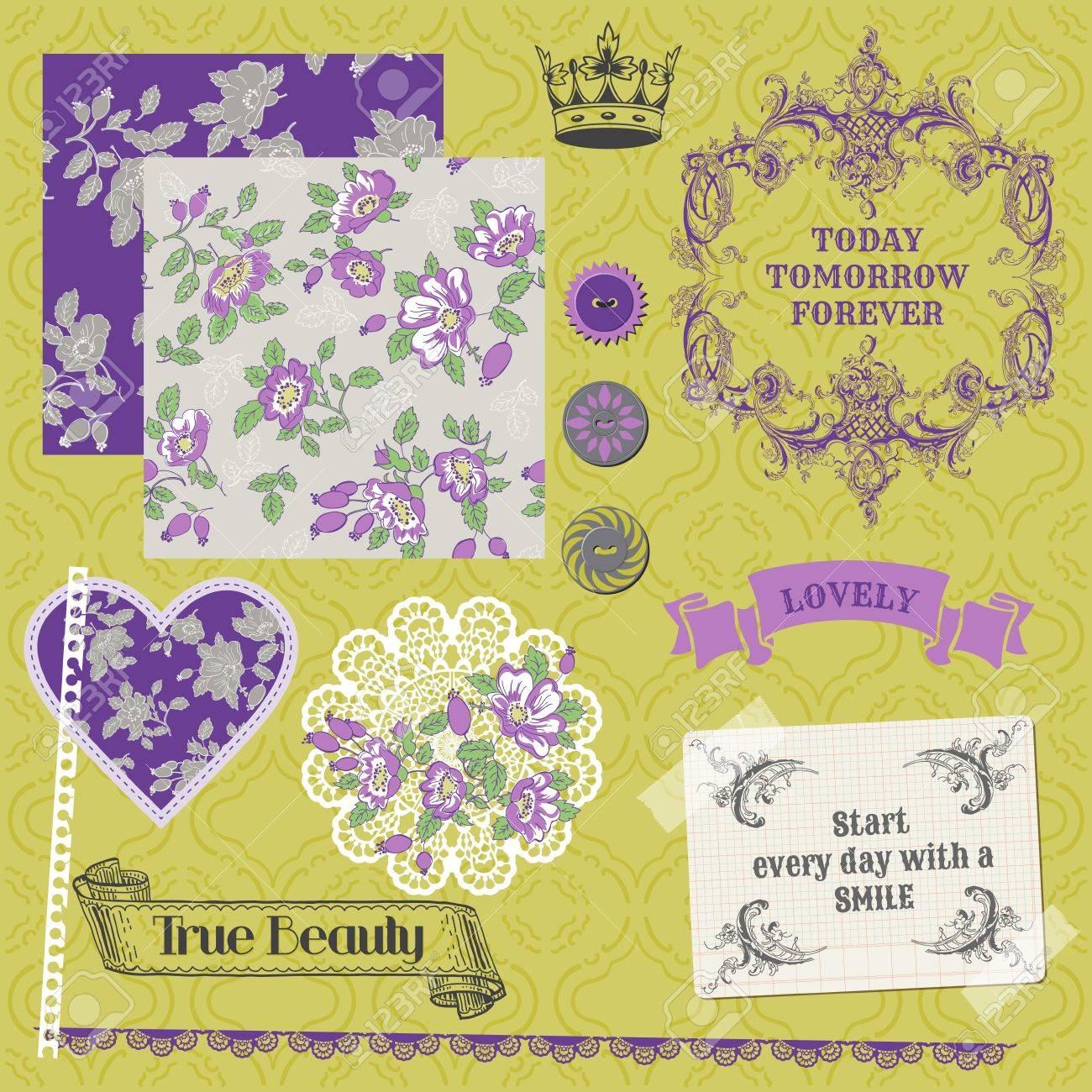 Scrapbook Design Elements - Vintage Violet Roses Stock Vector - 17919026