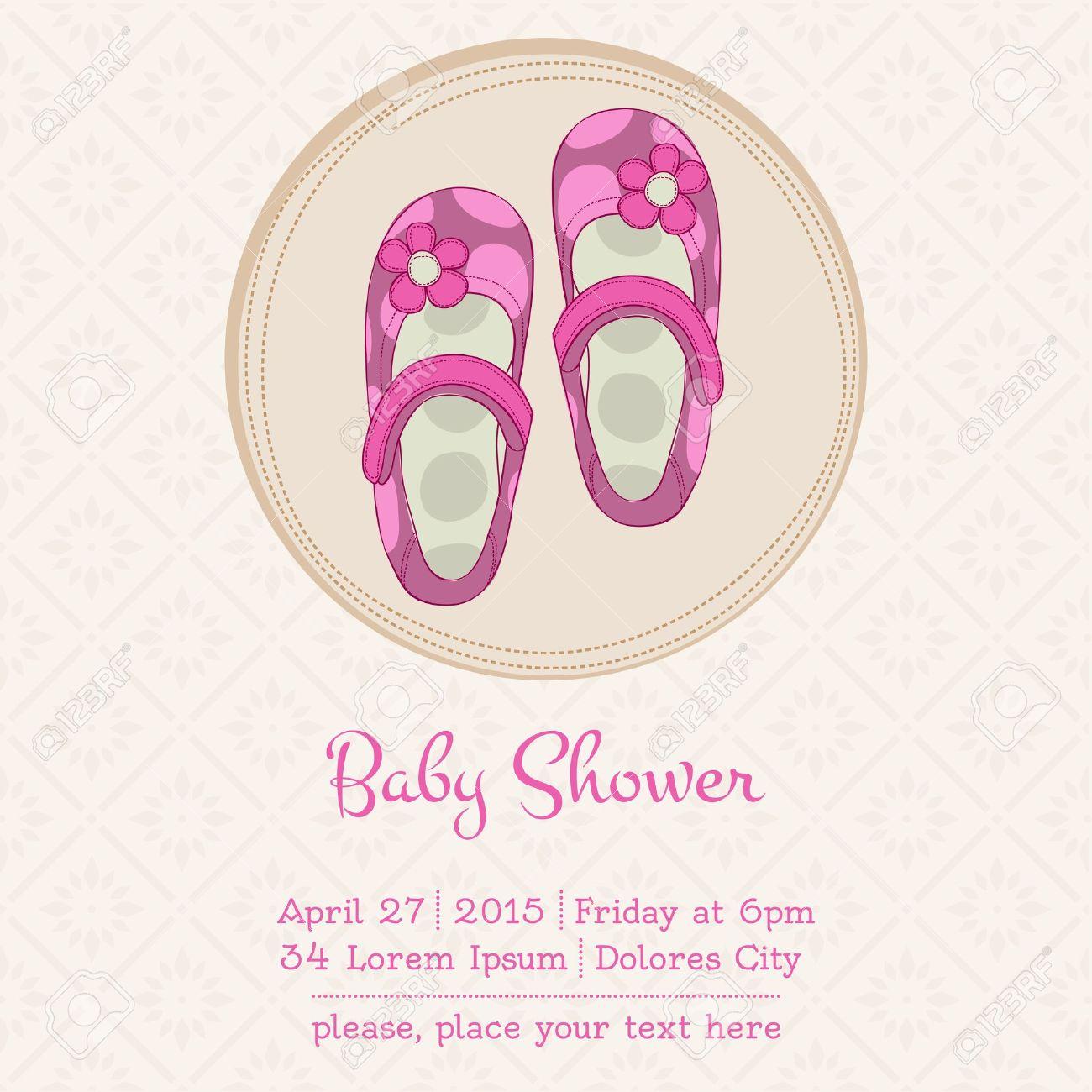 Baby Shower Karte Text.Stock Photo
