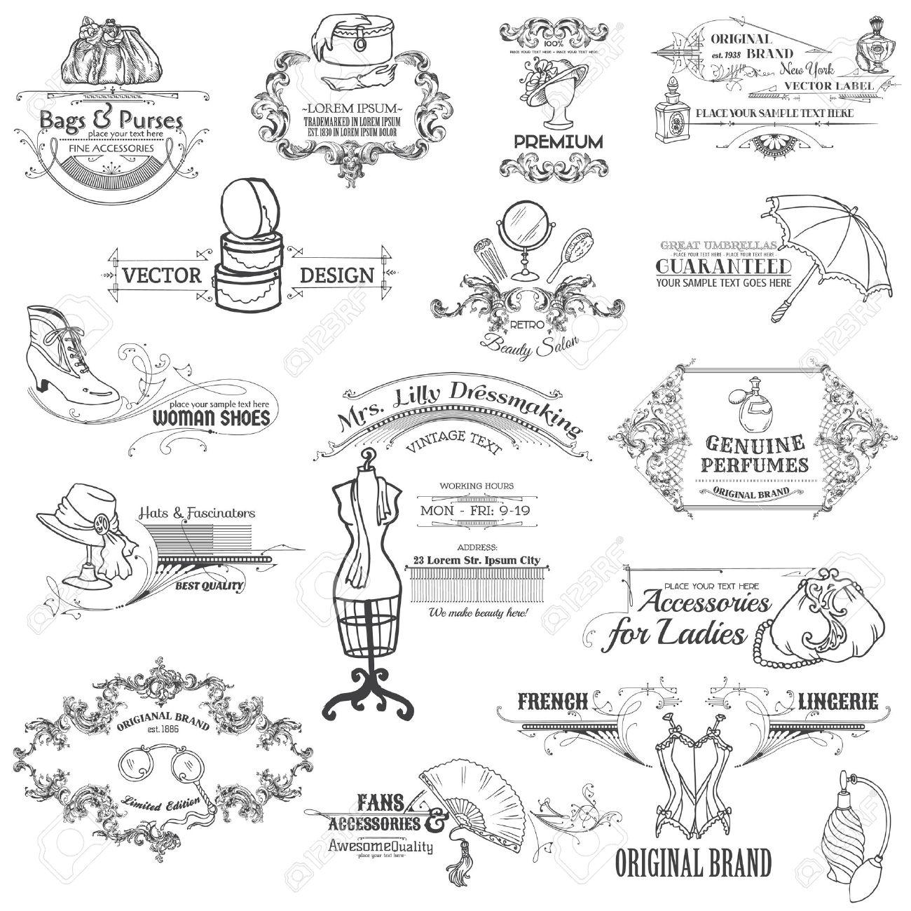 b15160902eda6 Elementos caligráficos del diseño y la recopilación de Marco Vintage con  dama de la moda -