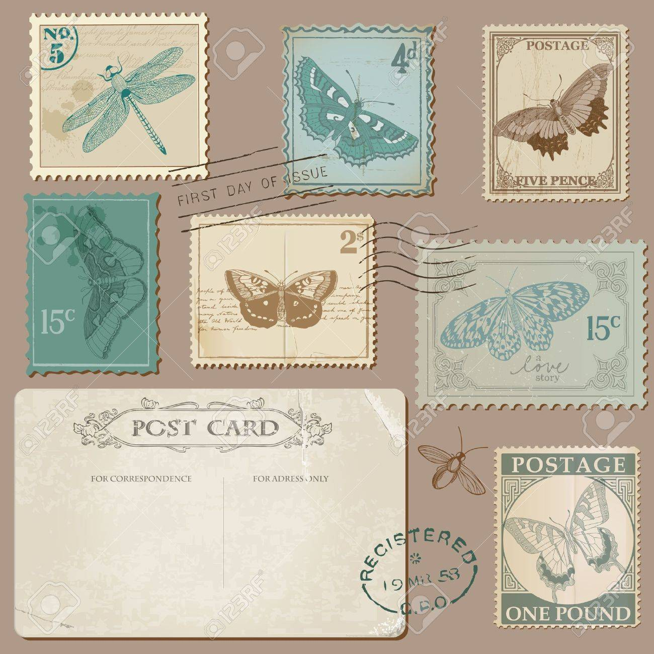 Vintage Postcard And Postage Stamps With Butterflies   For Wedding Design,  Invitation, Scrapbook Stock