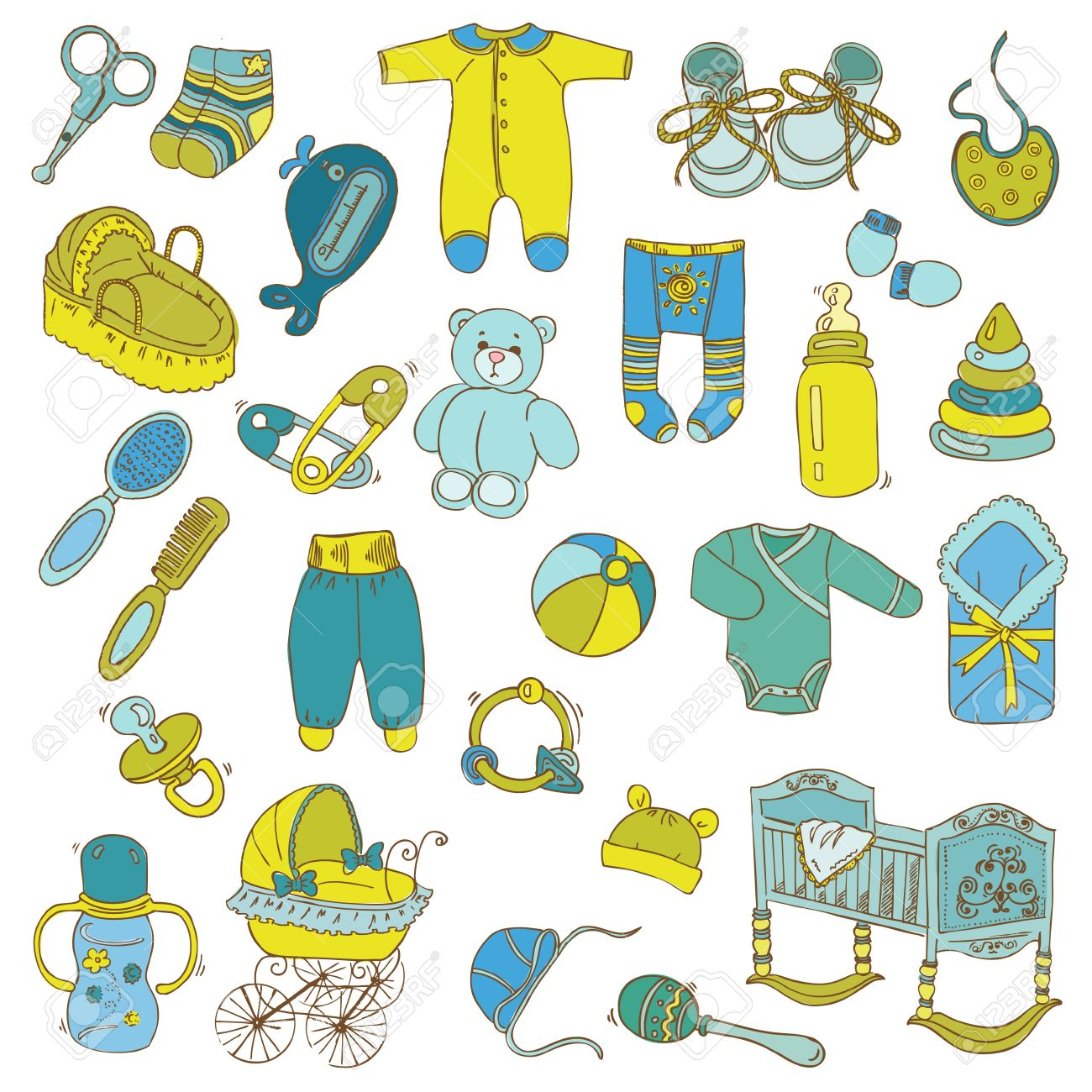 Scrapbook Design Elements - Baby Arrival Set - in vector - 19268712