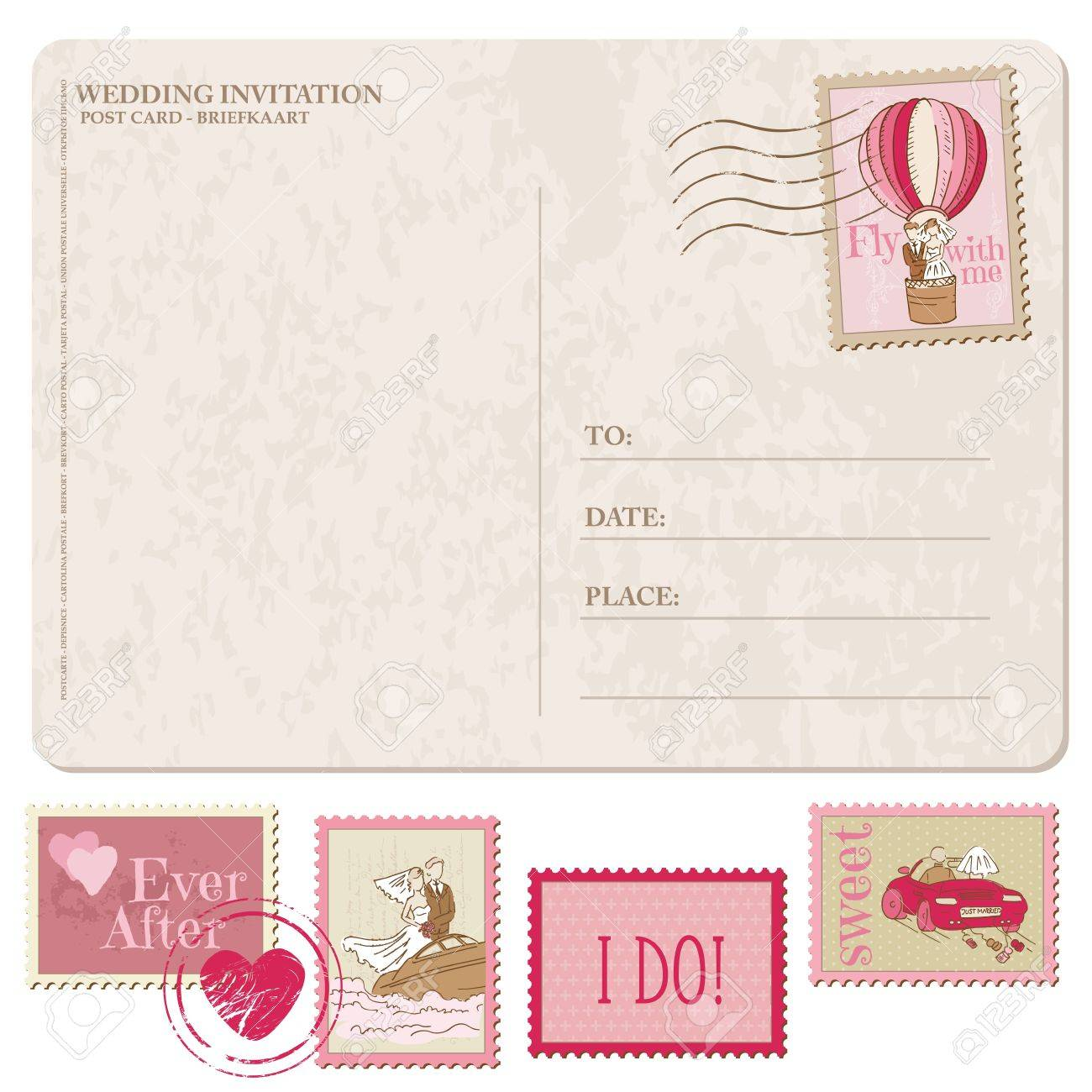 How to scrapbook a wedding invitation - Vector Wedding Invitation Vintage Postcard With Postage Stamps For Design And Scrapbook