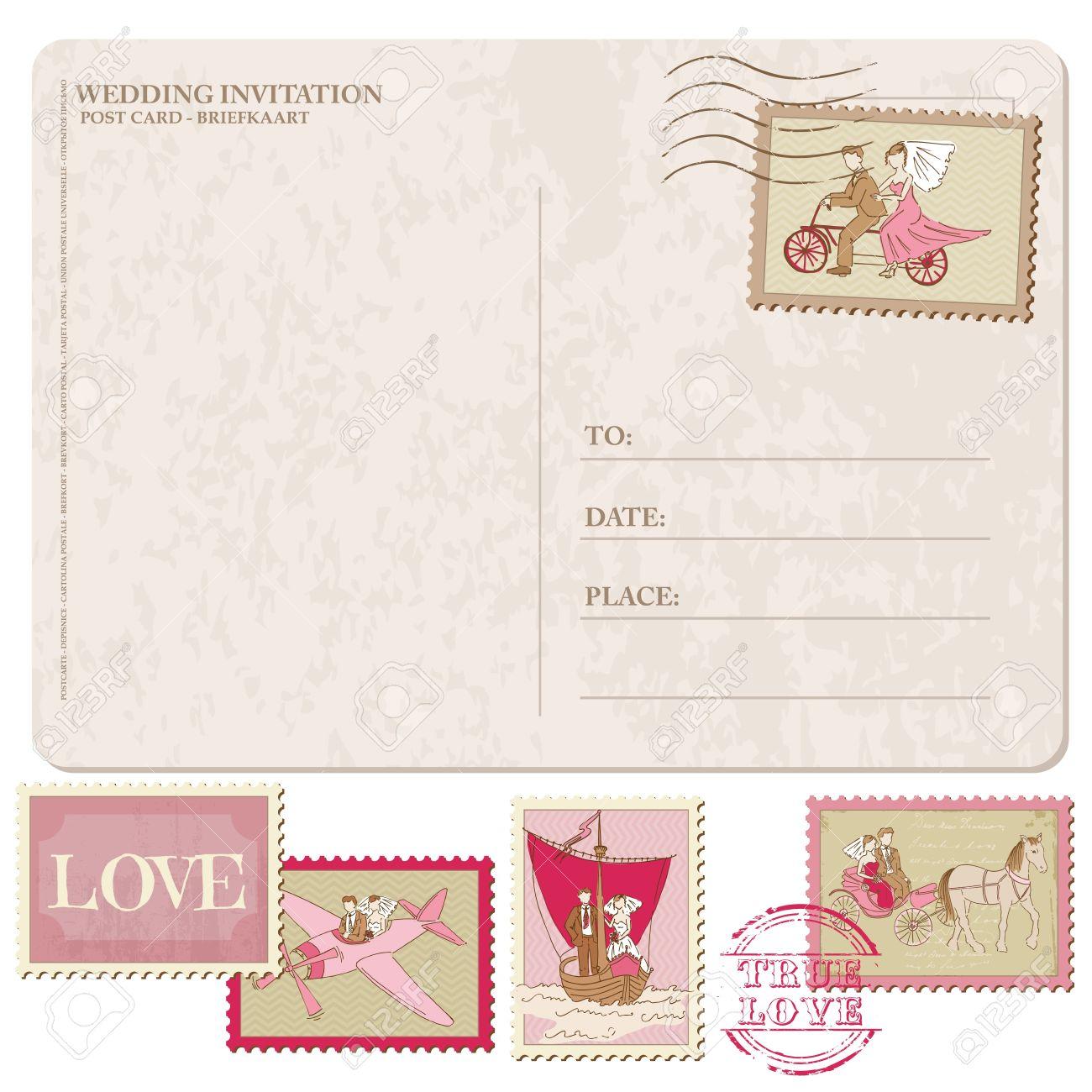 wedding invitation vintage postcard with postage stamps for