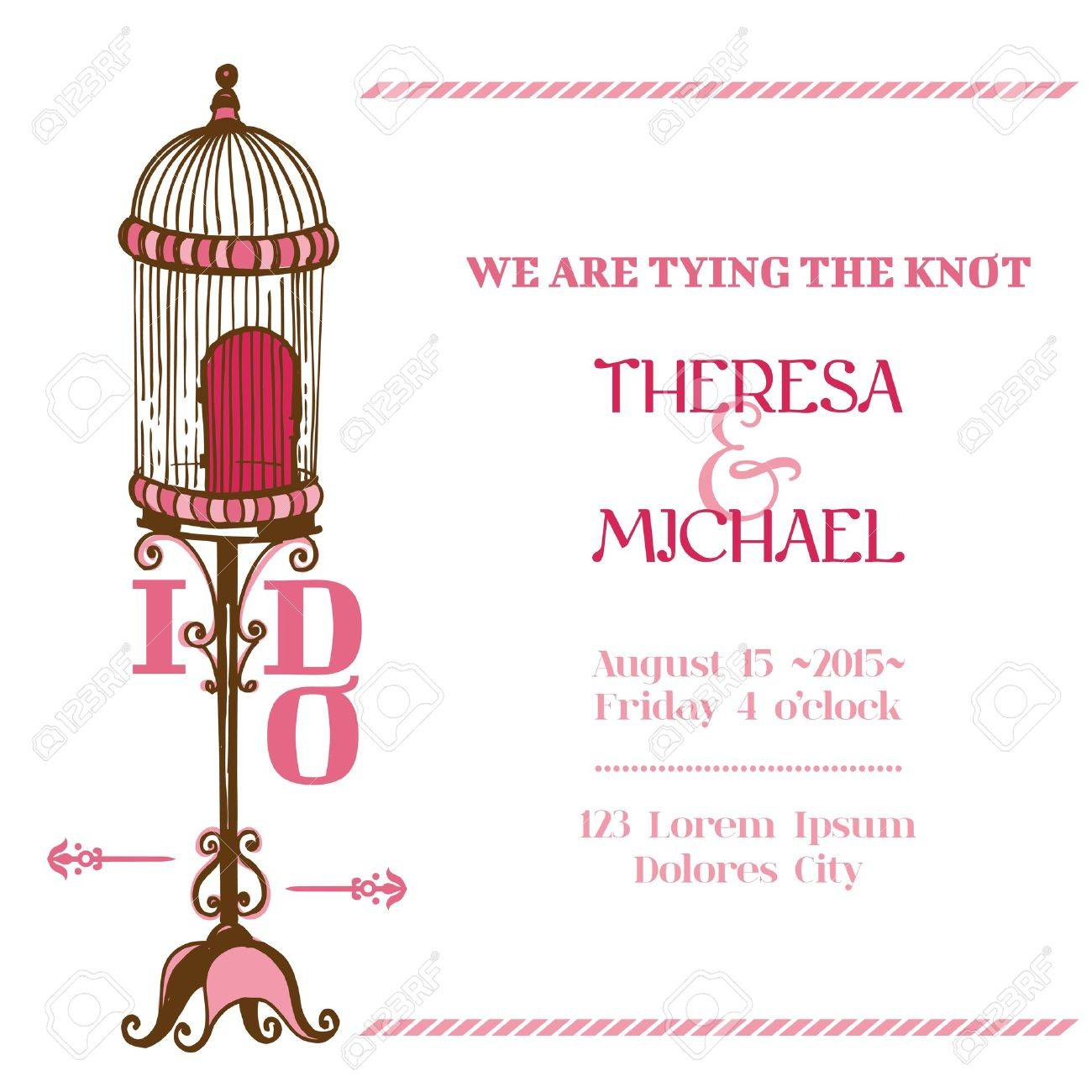 Wedding Vintage Invitation Card - Bird Cage Theme - For Design ...