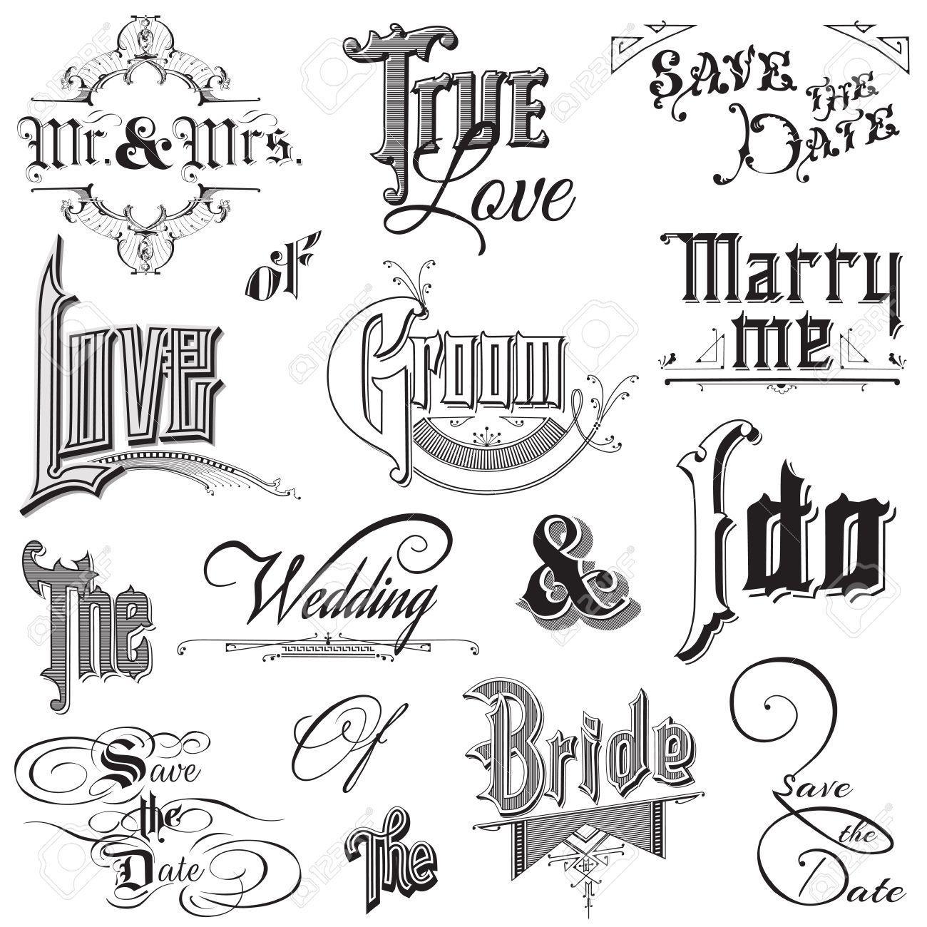 How to scrapbook words - Victorian Words Calligraphic Wedding Elements For Design And Scrapbook In Vector