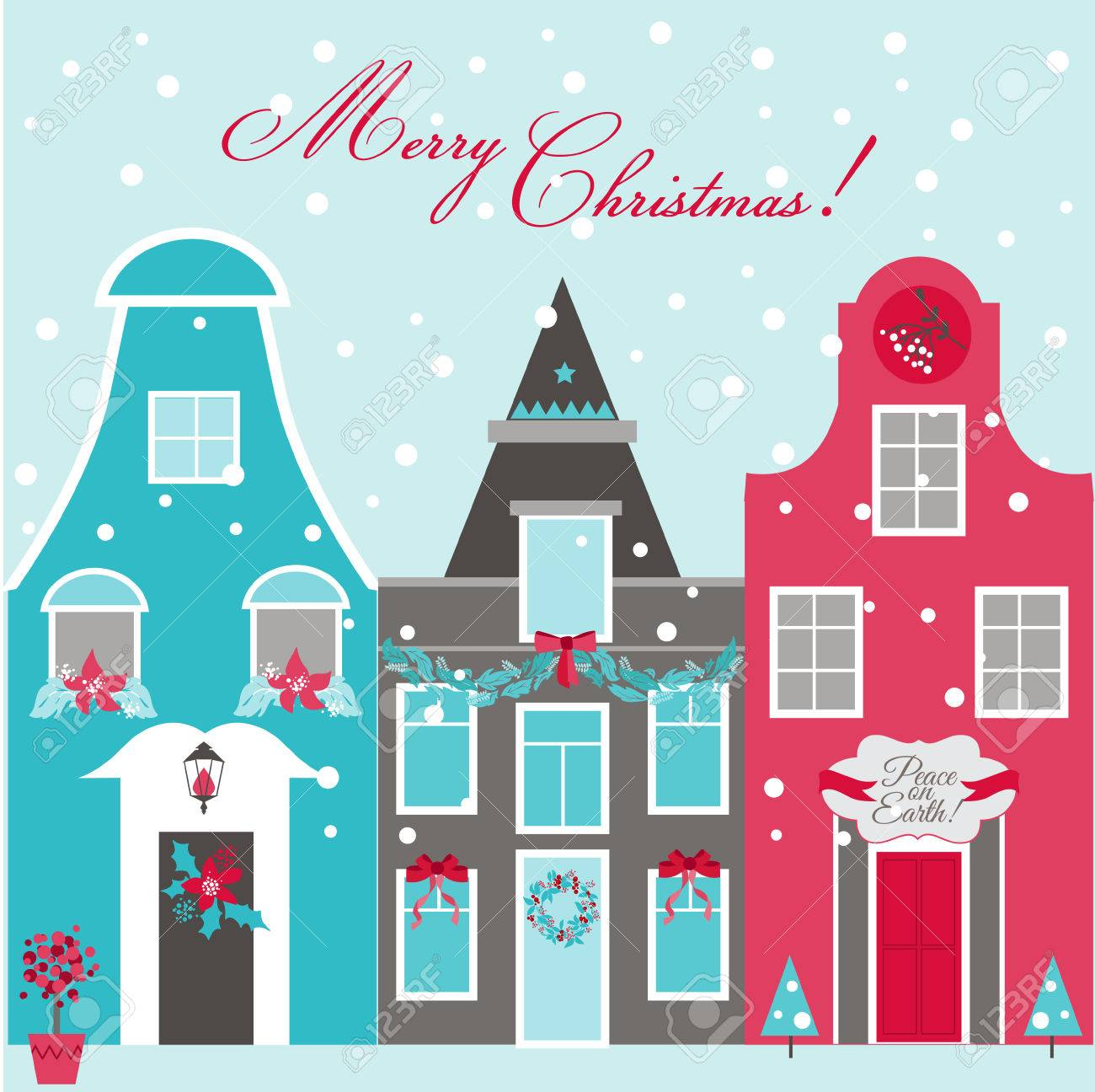 Retro Christmas Invitation Card Christmas Houses Theme In