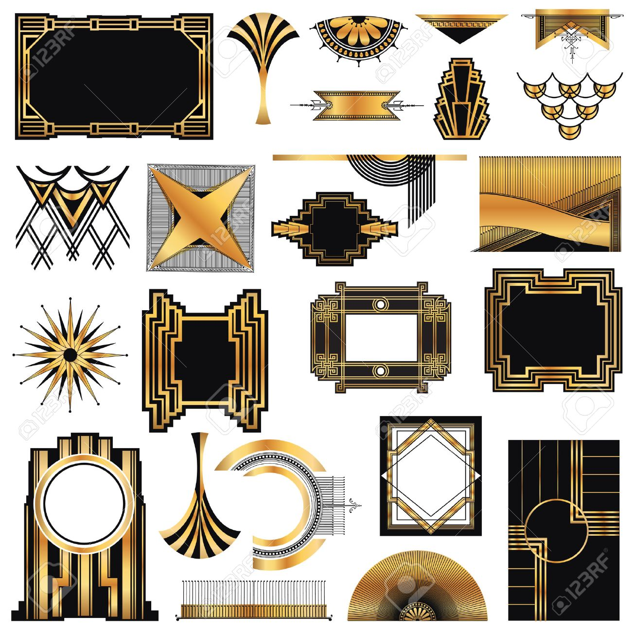 Art Deco Design Elements art deco vintage frames and design elements royalty free cliparts