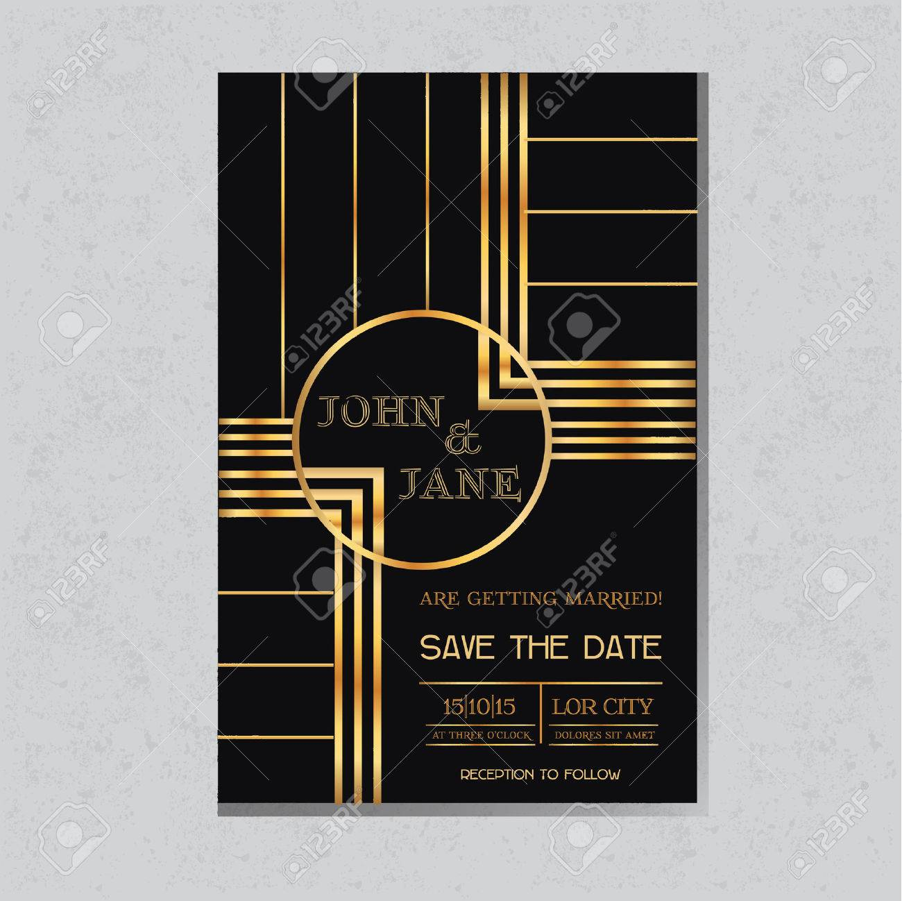Save The Date Wedding Invitation Card In Art Deco Design Royalty