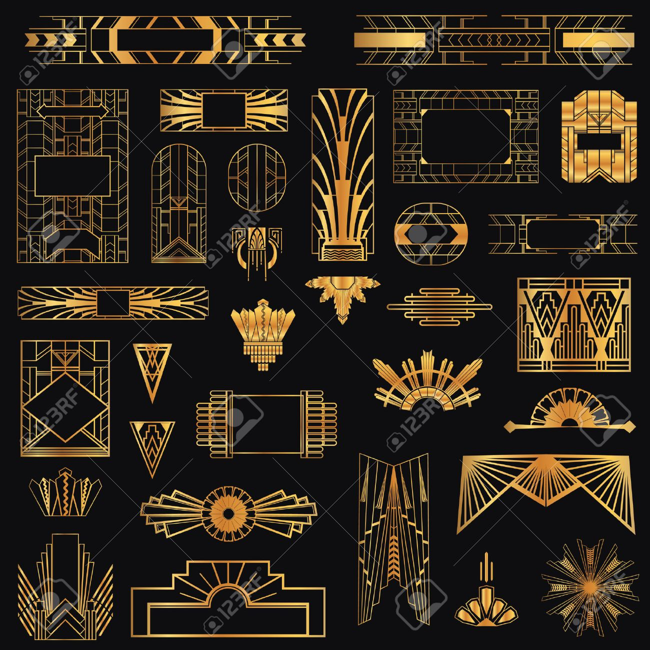 Art Deco Vintage Frames And Design Elements Royalty Free Cliparts ...