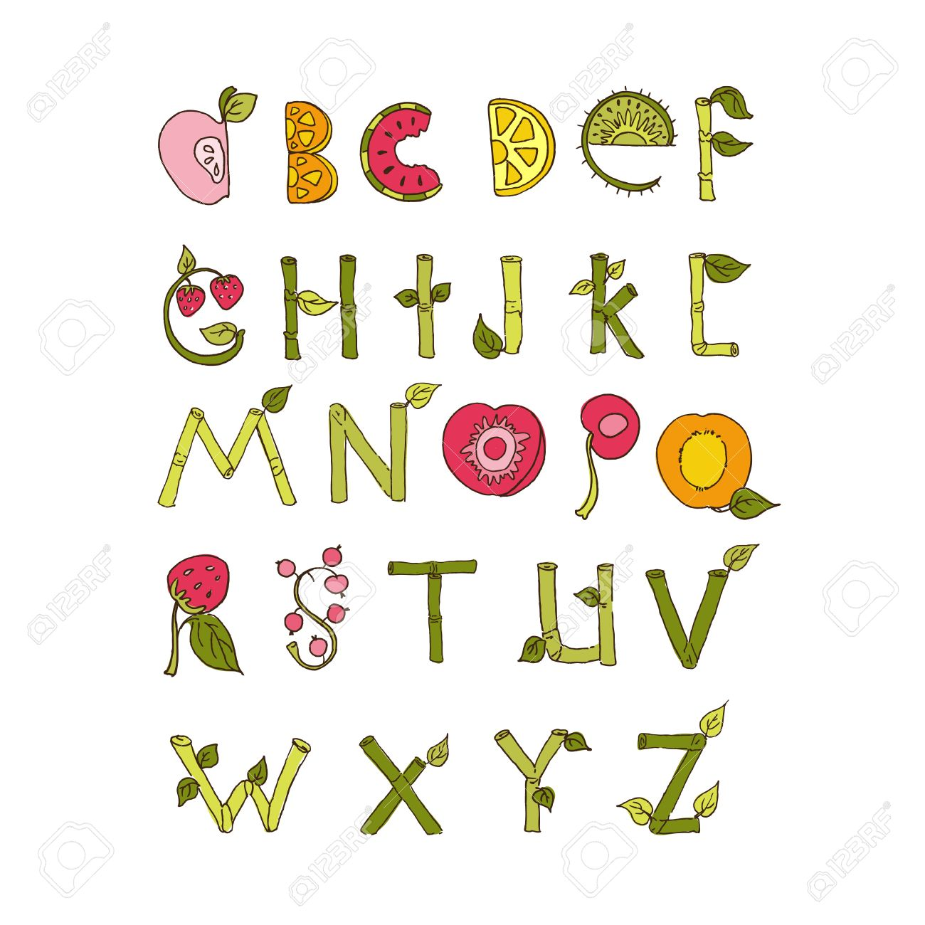 27304611-Main-dessin-e-alphabet-l-ments-de-la-nature-et-de-fruits-police-de-Doodle--Banque-d'images