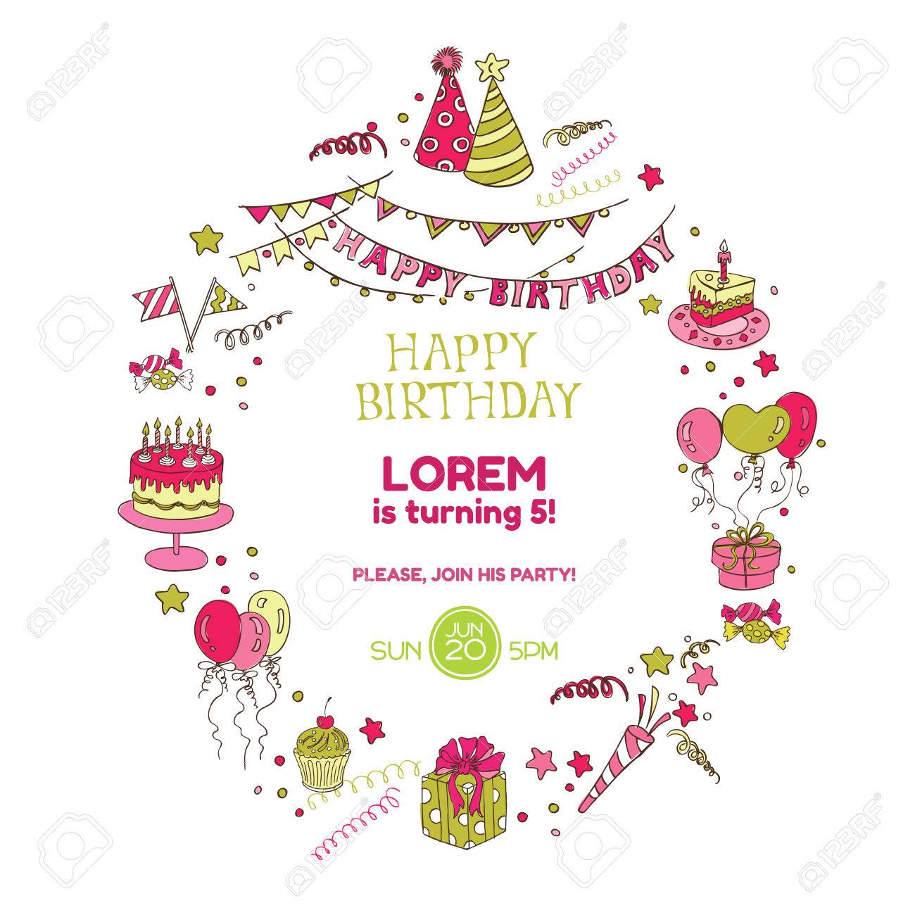 Birthday party invitation card with place for your text in birthday party invitation card with place for your text in vector stock vector stopboris Gallery