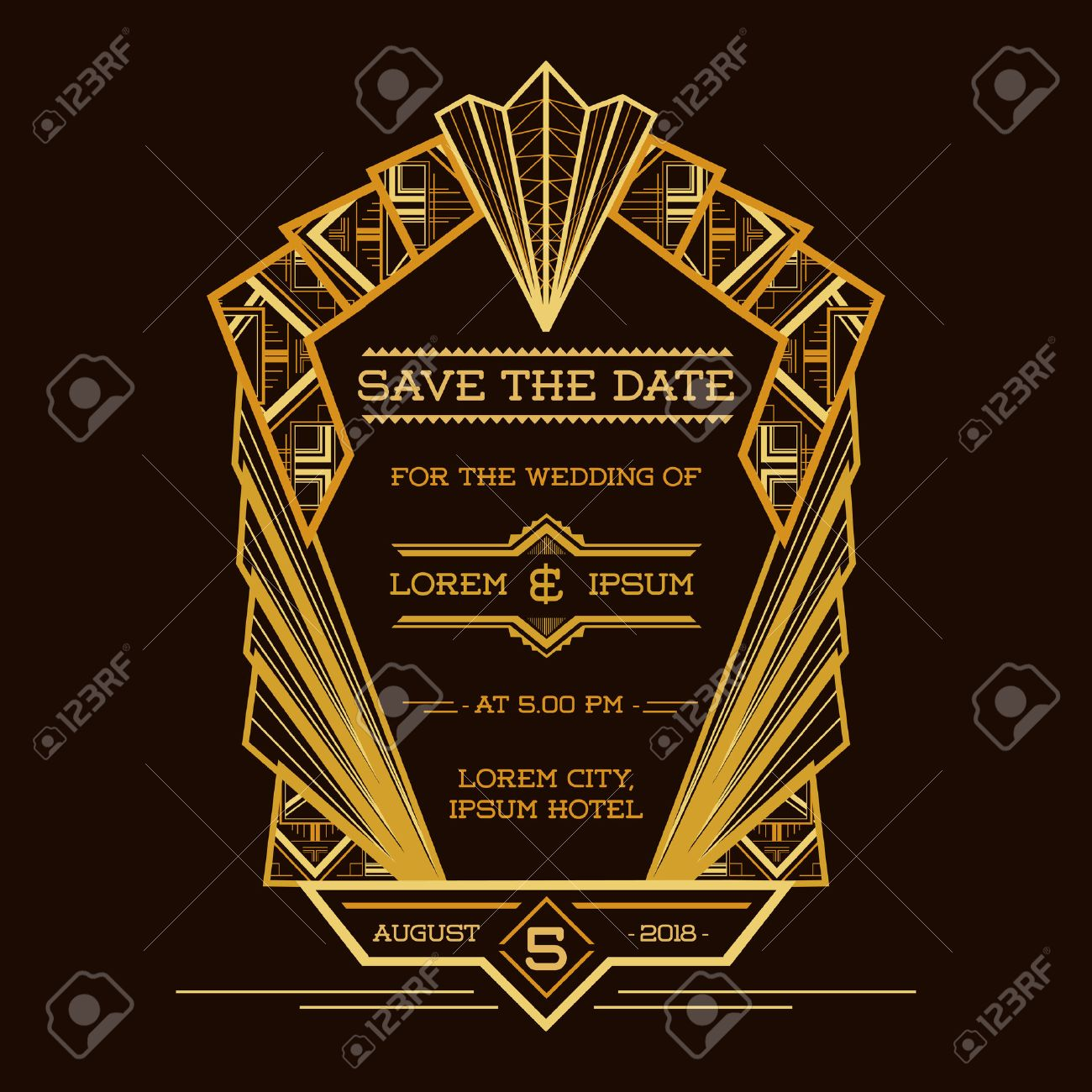 Save the date wedding invitation card art deco vintage style save the date wedding invitation card art deco vintage style in vector stock stopboris Image collections