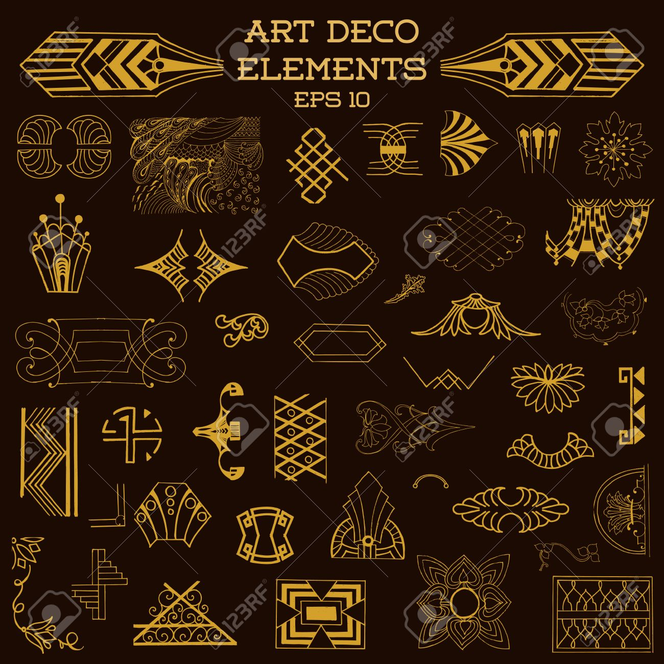 Art Deco Vintage Frames And Design Elements Hand Drawn In Vector