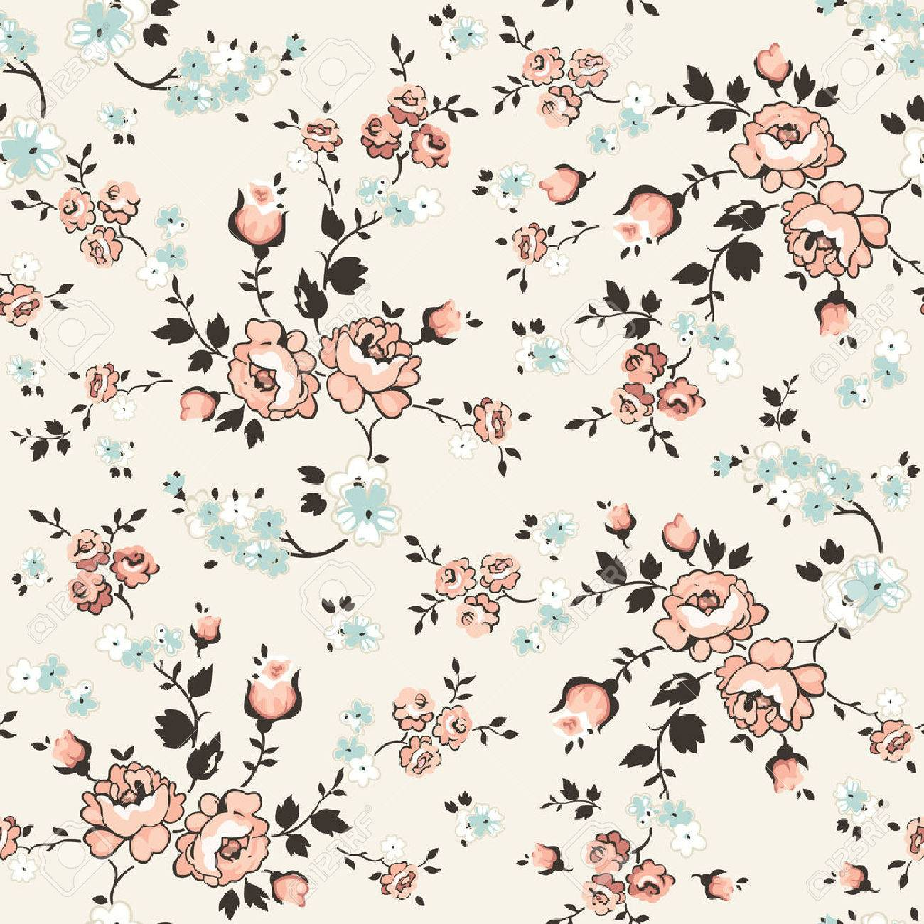 Vintage Floral Background Seamless Pattern Royalty Free Cliparts