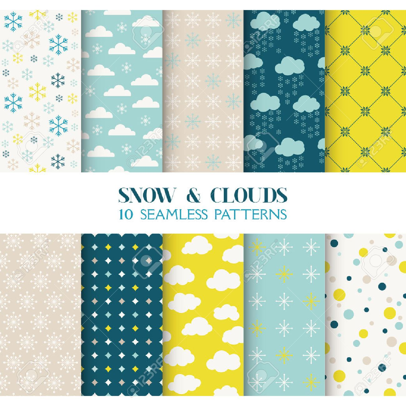 Scrapbook paper clouds - 10 Seamless Patterns Snow And Clouds Texture For Wallpaper Background Texture