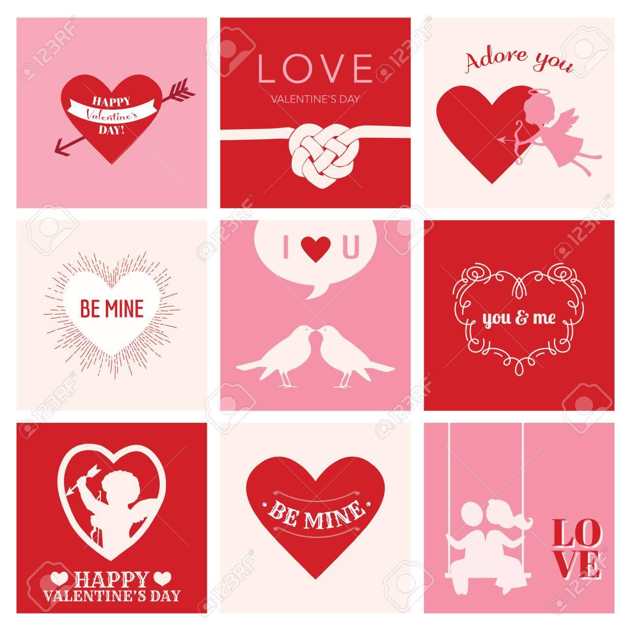 Conjunto De Tarjetas Del Amor Para El Día De San Valentín ...
