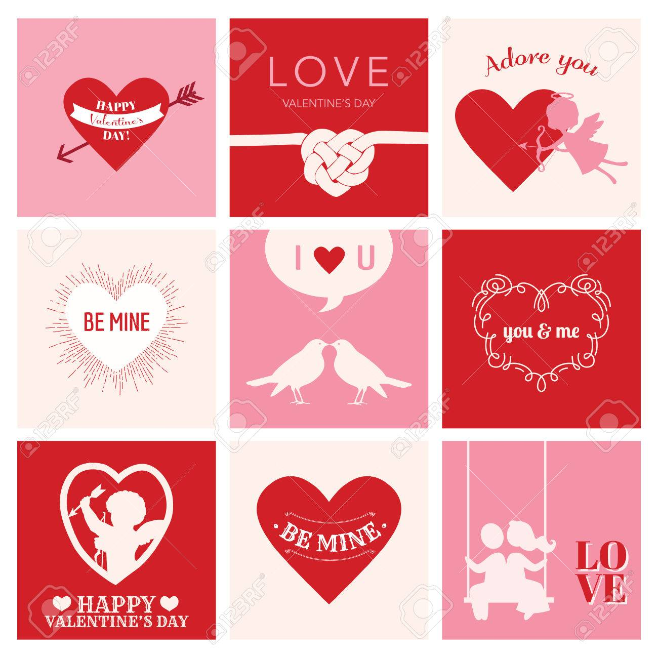 Set Of Love Cards For Valentine\'s Day - Hearts, Frames, Cupids ...