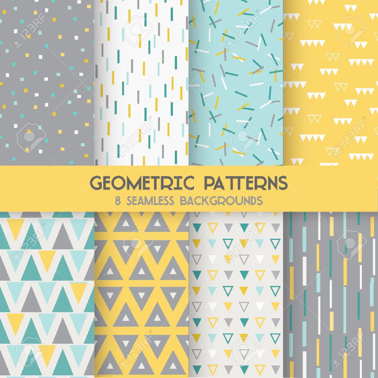 8 Motifs Géométriques Sans Soudure   Texture De Papier Peint, Fond