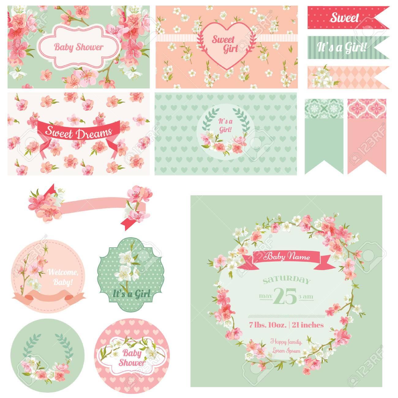 Lbum De Recortes Elementos De Diseño Baby Shower Flower Theme Vector