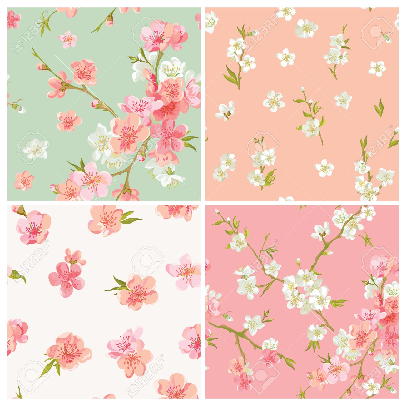 set of spring blossom flowers background seamless floral shabby
