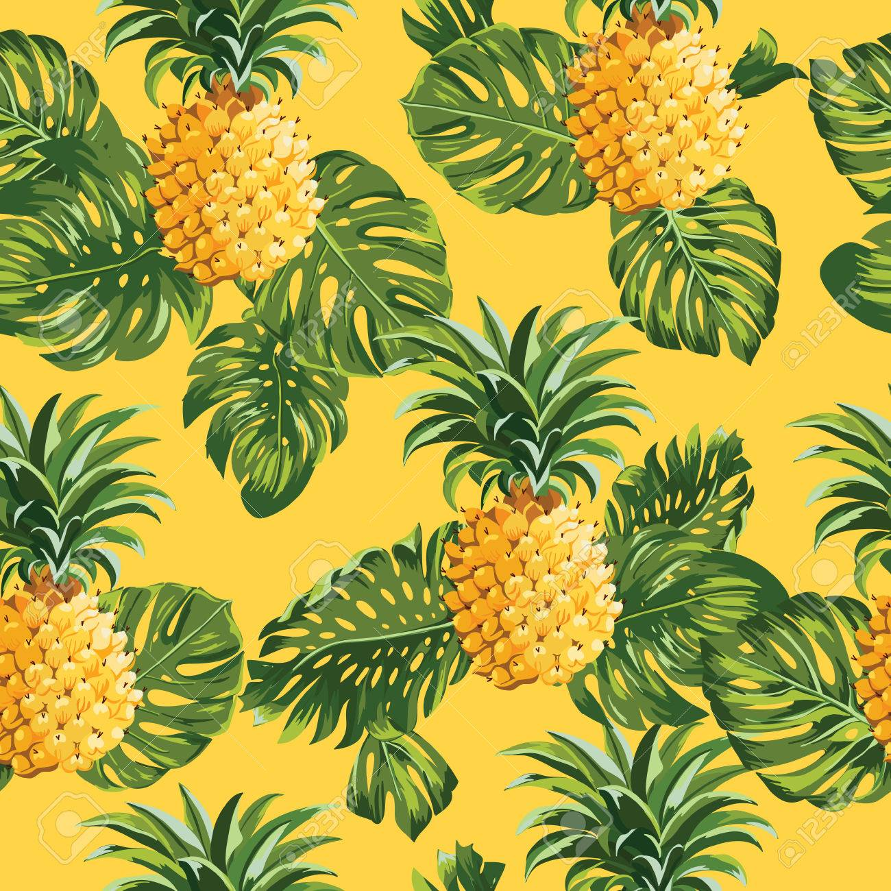 pinapples and tropical leaves background vintage seamless pattern