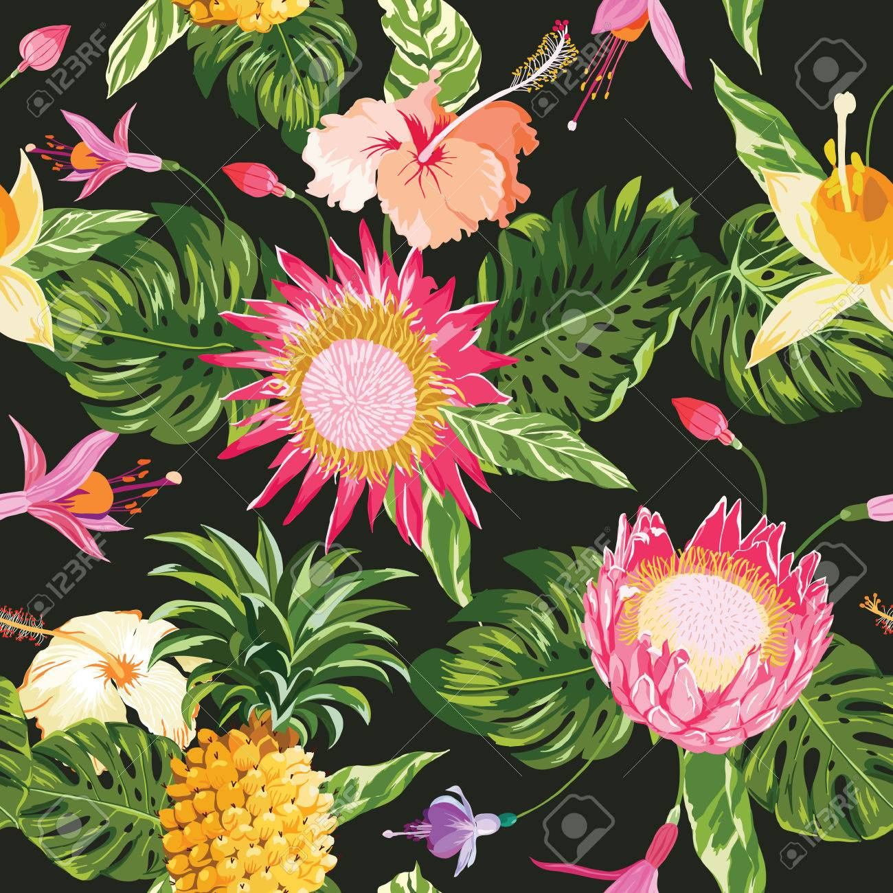 Tropical Flowers Background Vintage Seamless Pattern In Vector