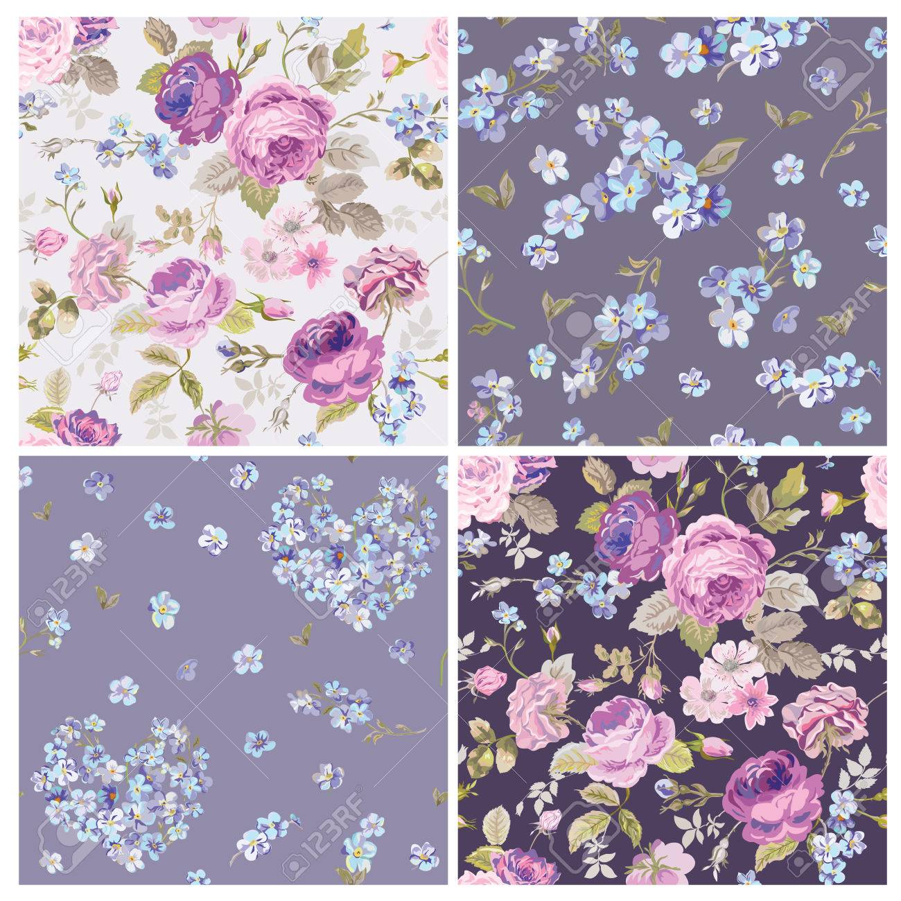 Set Of Spring Flowers Backgrounds Seamless Floral Shabby Chic