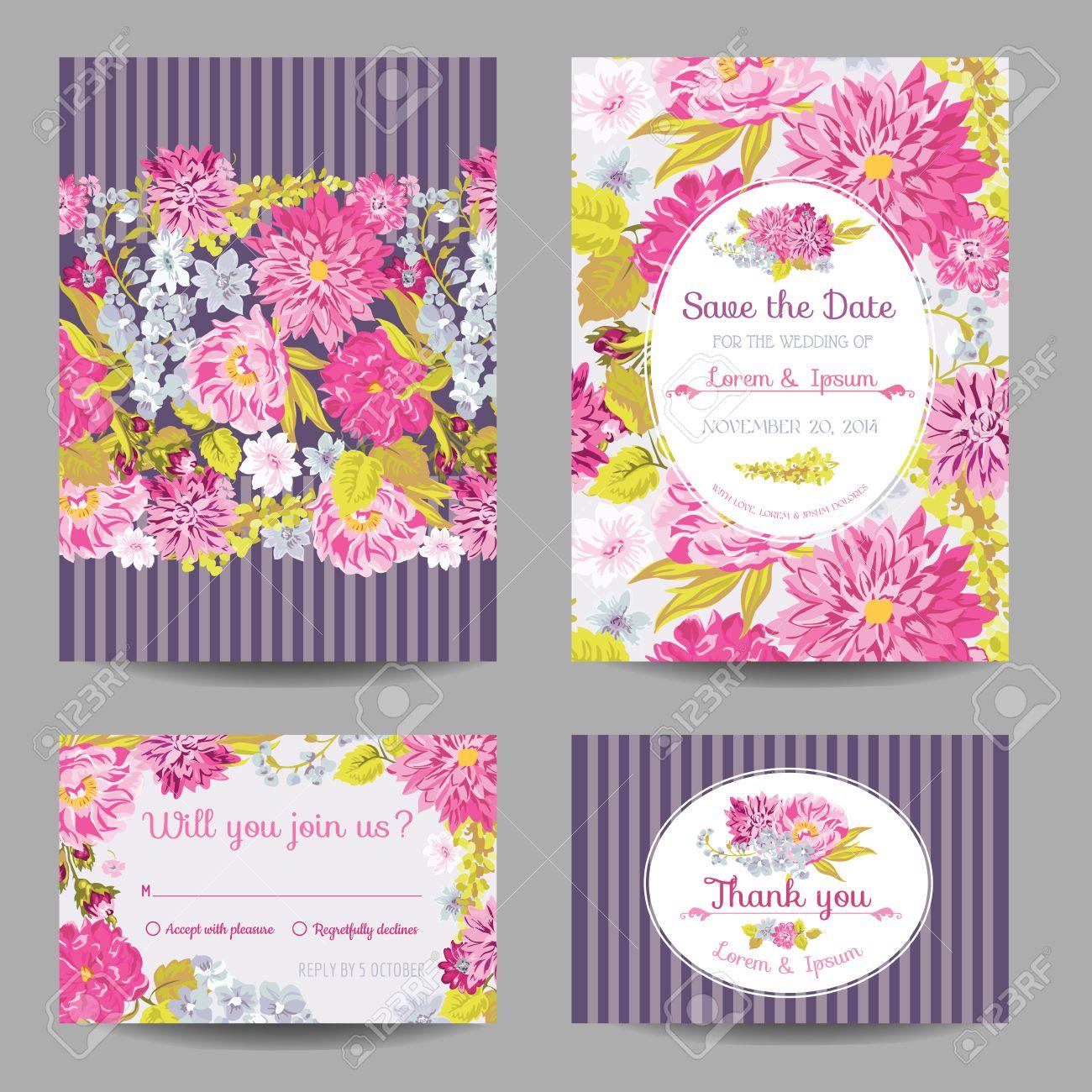 Einladung Oder Grußkarte Set   Für Hochzeit, Baby Dusche   In Vektor   Standard