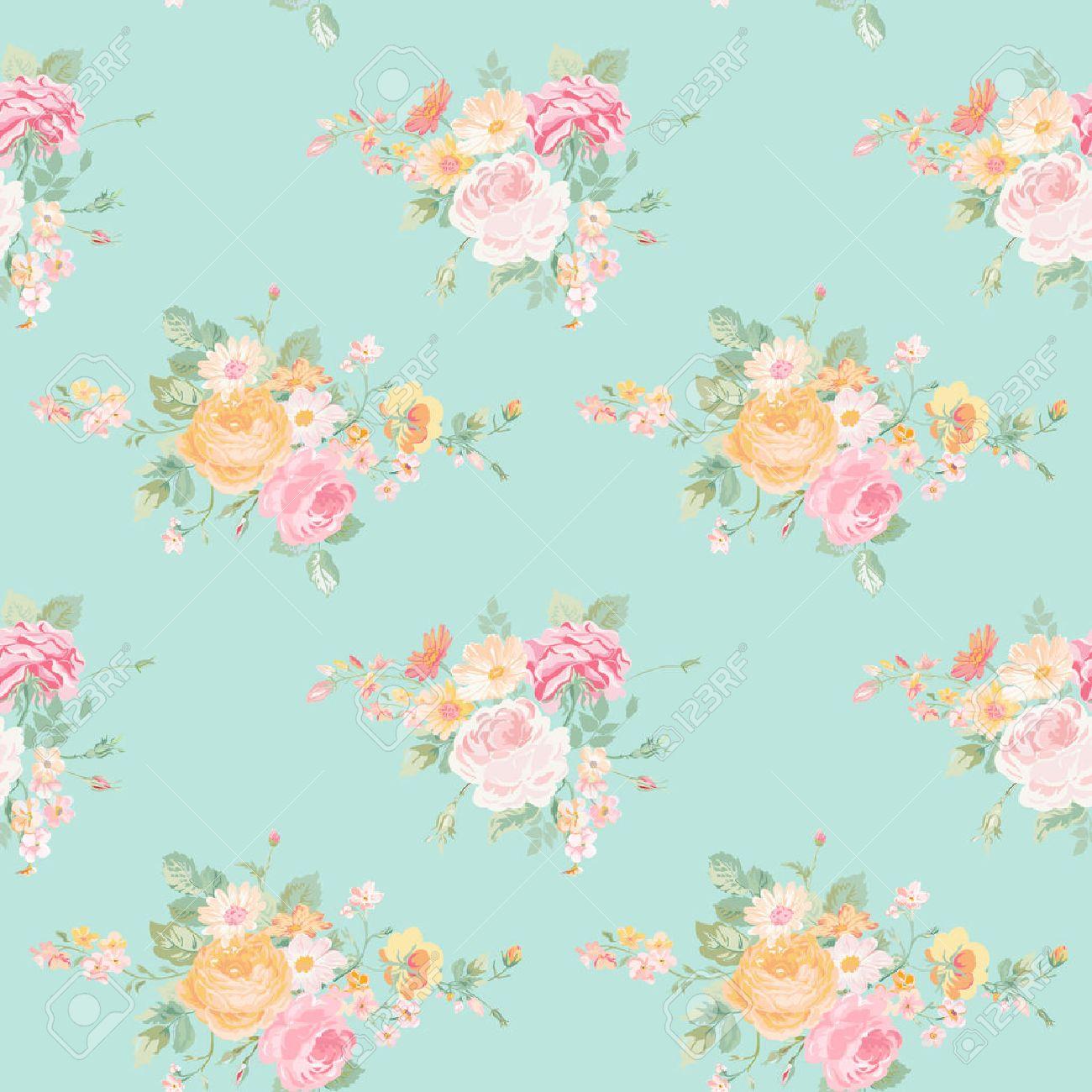 Antecedentes Flores Vintage Modelo Inconsutil Floral Elegante