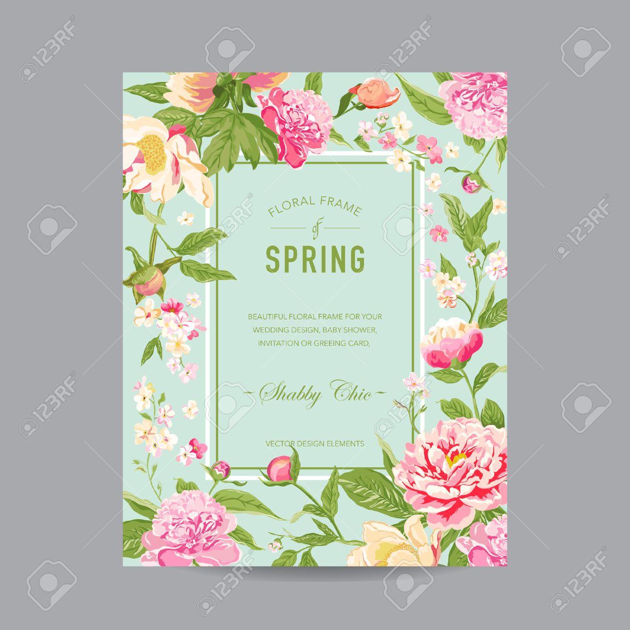 Vintage floral frame for invitation wedding baby shower card vintage floral frame for invitation wedding baby shower card in vector stock stopboris Choice Image