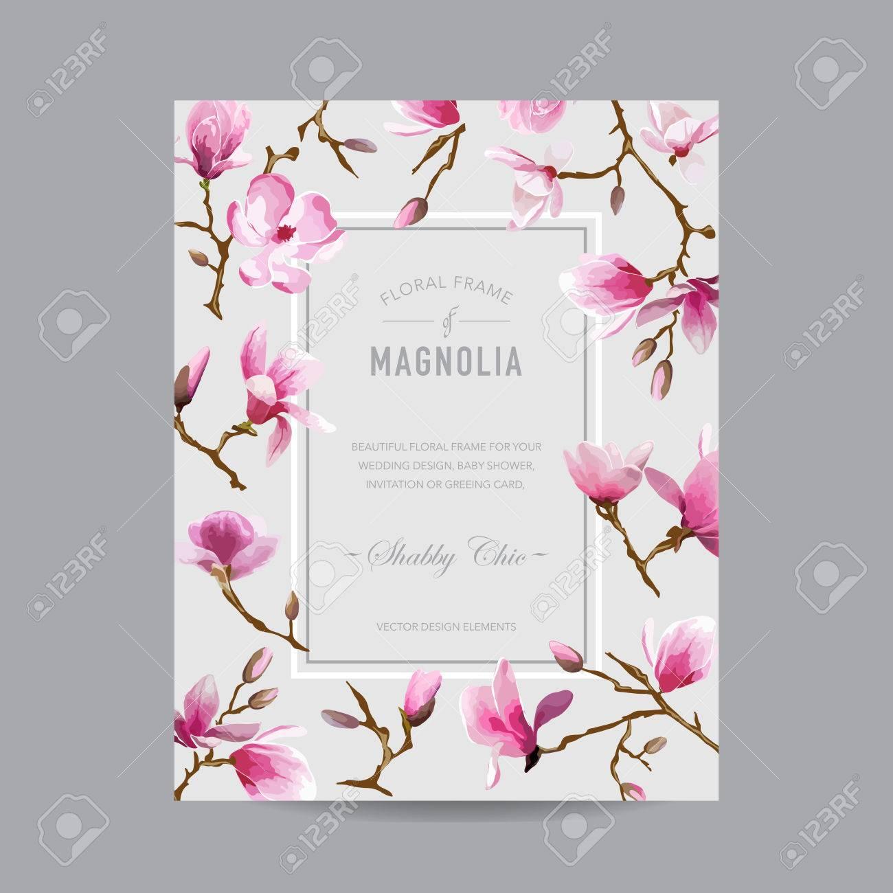 Weinlese Mit Blumen Magnolia Rahmen   Für Einladung, Hochzeit,  Baby Dusche Karte