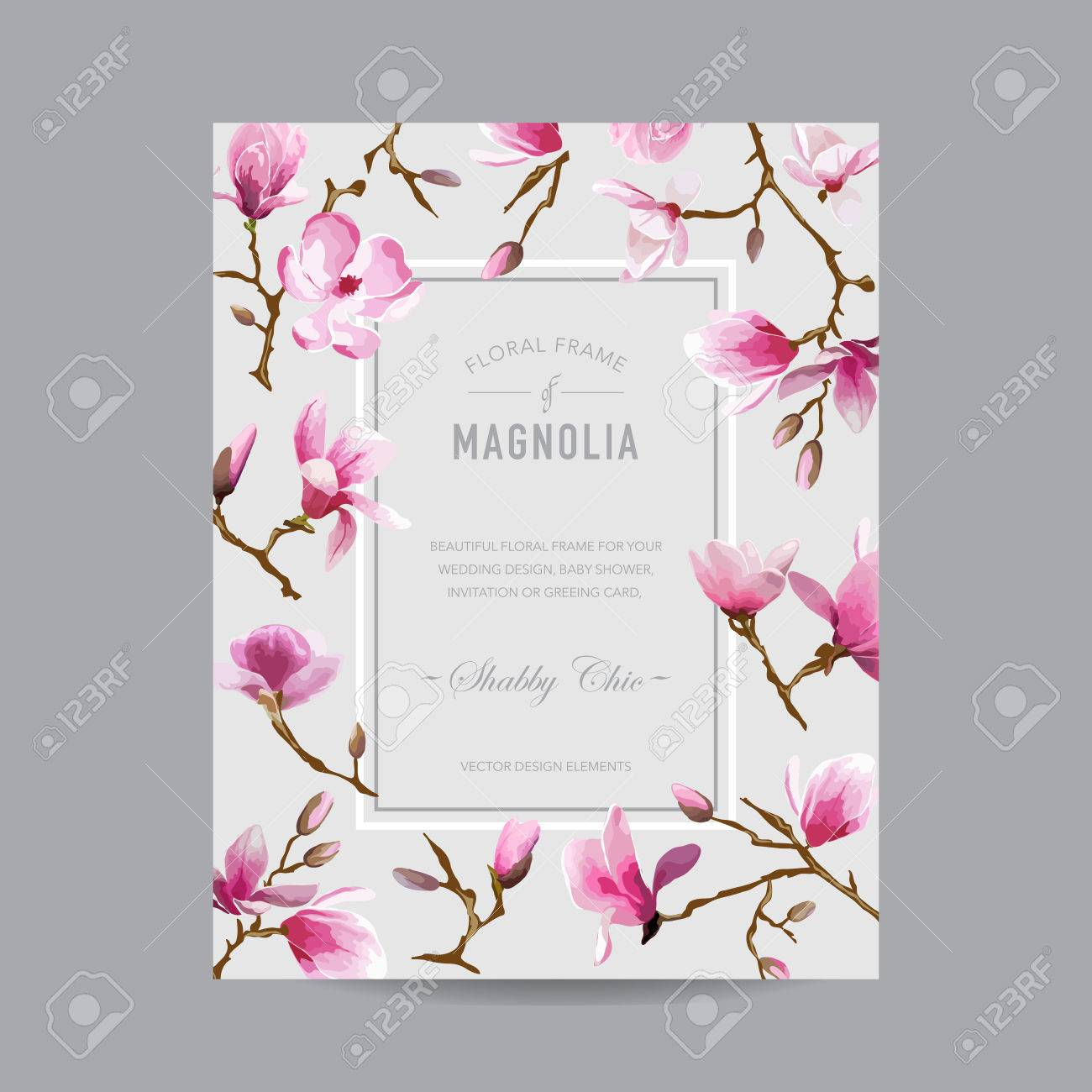 Vintage Floral Magnolia Frame - For Invitation, Wedding, Baby ...