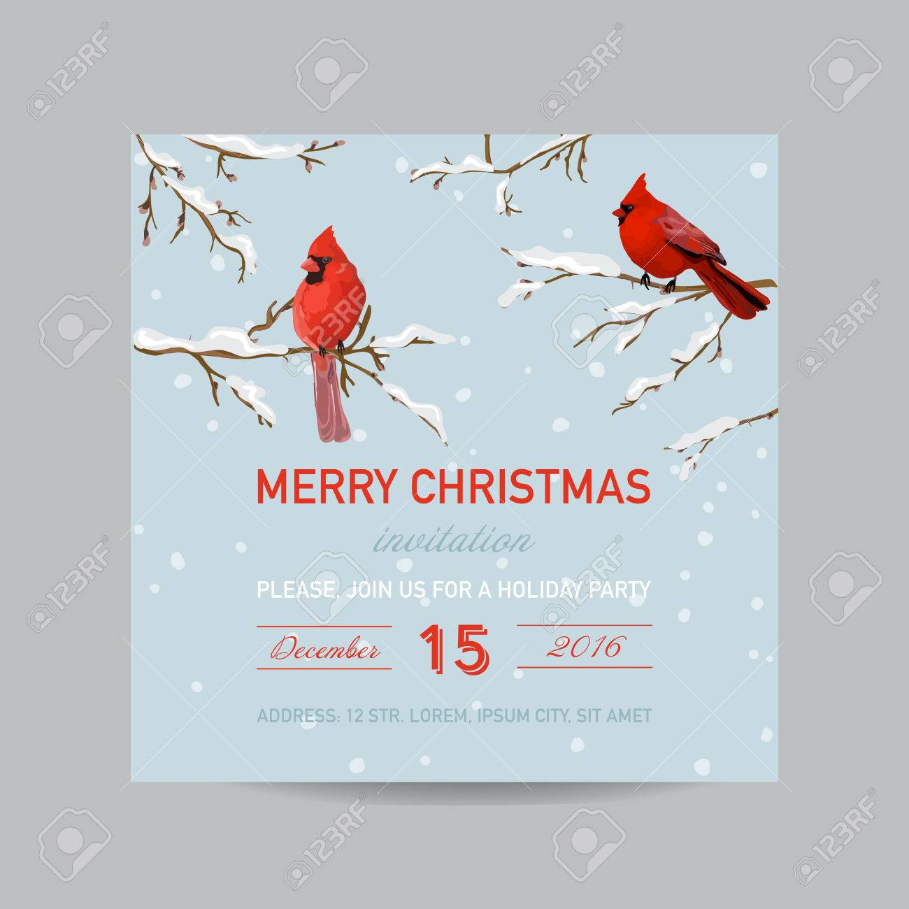 doc christmas invitation card psd christmas christmas invitation card winter birds in watercolor style christmas invitation card