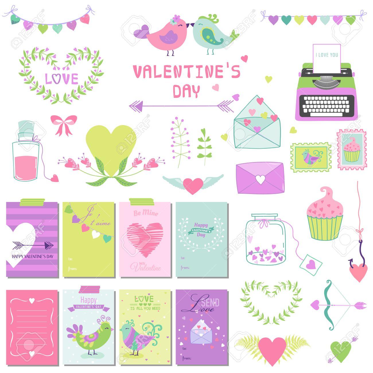 Scrapbook paper cooking - Scrapbook Paper Cute Valentines Day And Love Set For Design Scrapbooking In Vector