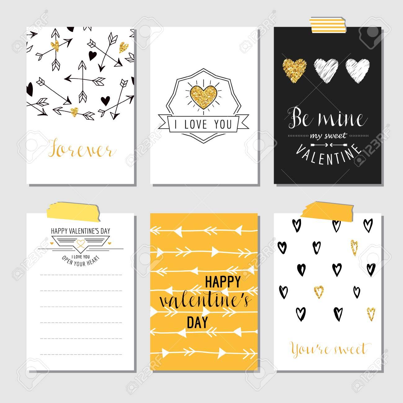 Set Liebe Grusskarten Mit Goldglitter Hochzeit Valentinstag
