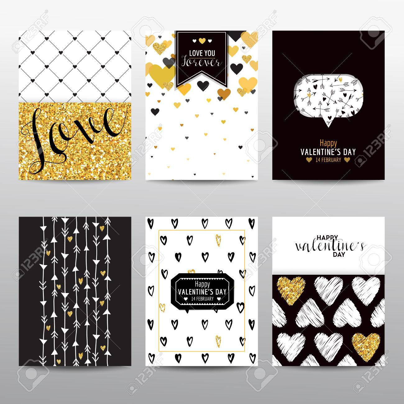 Set of Valentine's Day Brochures and Cards - vintage layouts - in vector - 50793950