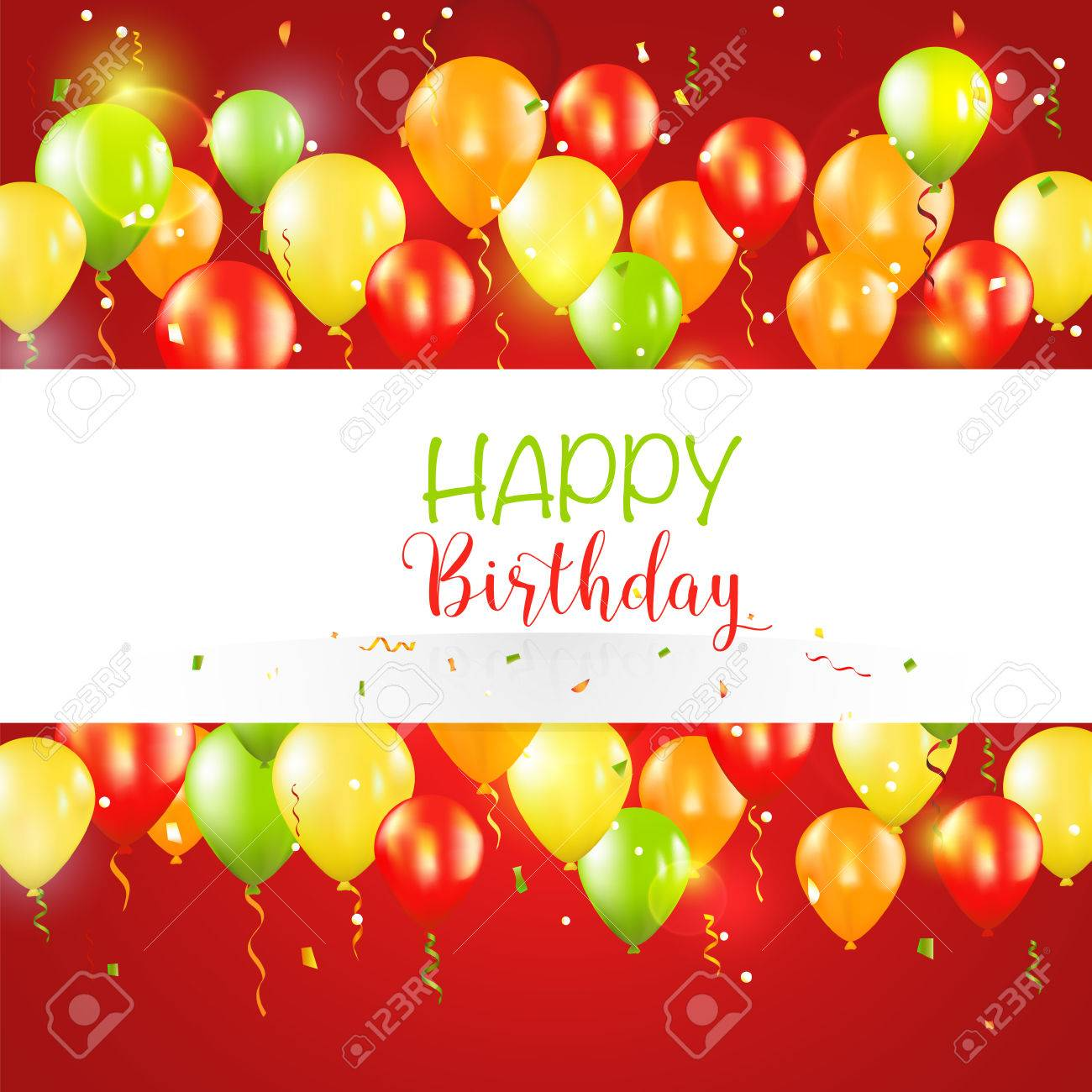 Happy Birthday And Party Balloon Invitation Card - With Place ...